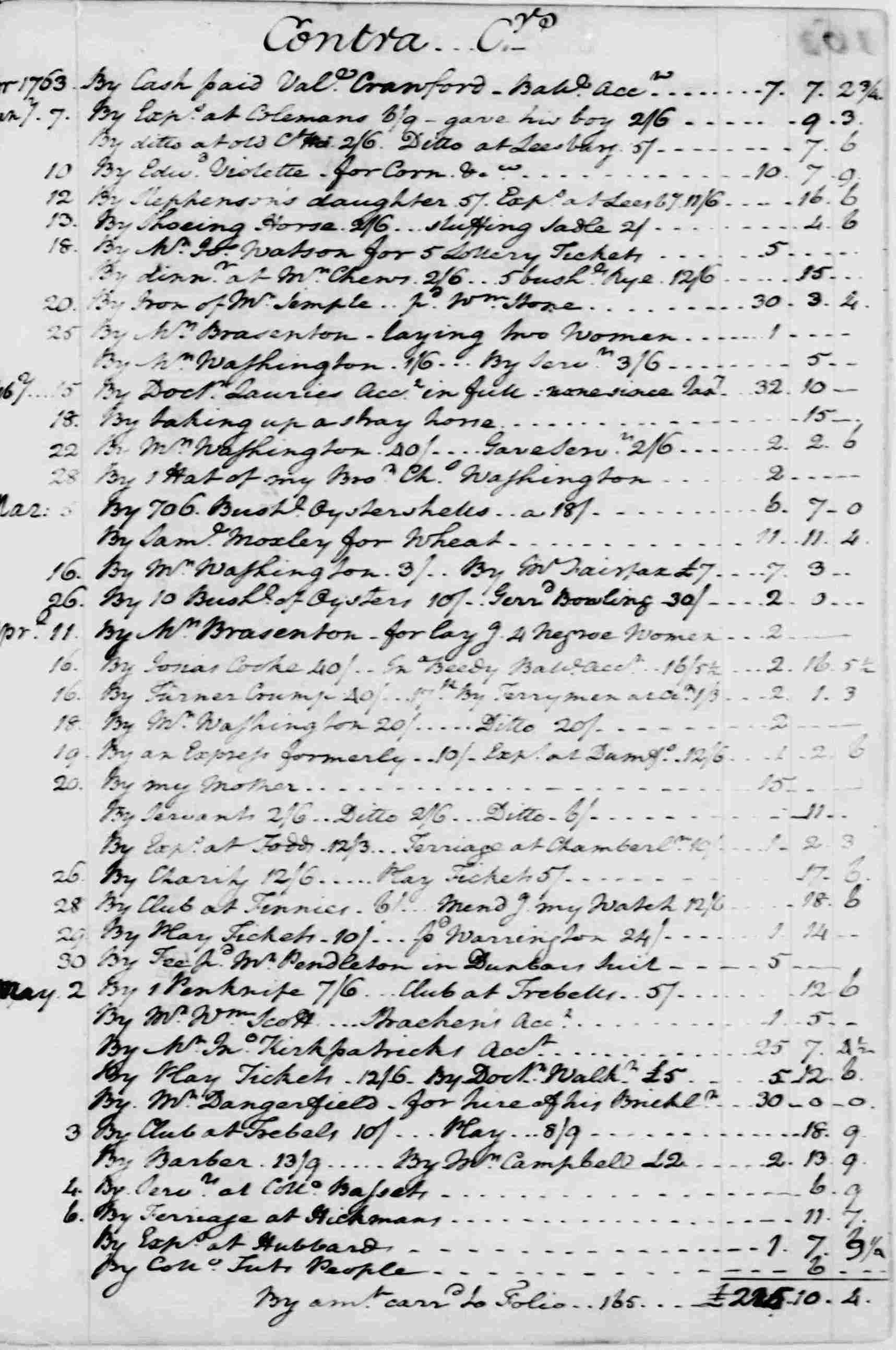 Ledger A, folio 160, right side