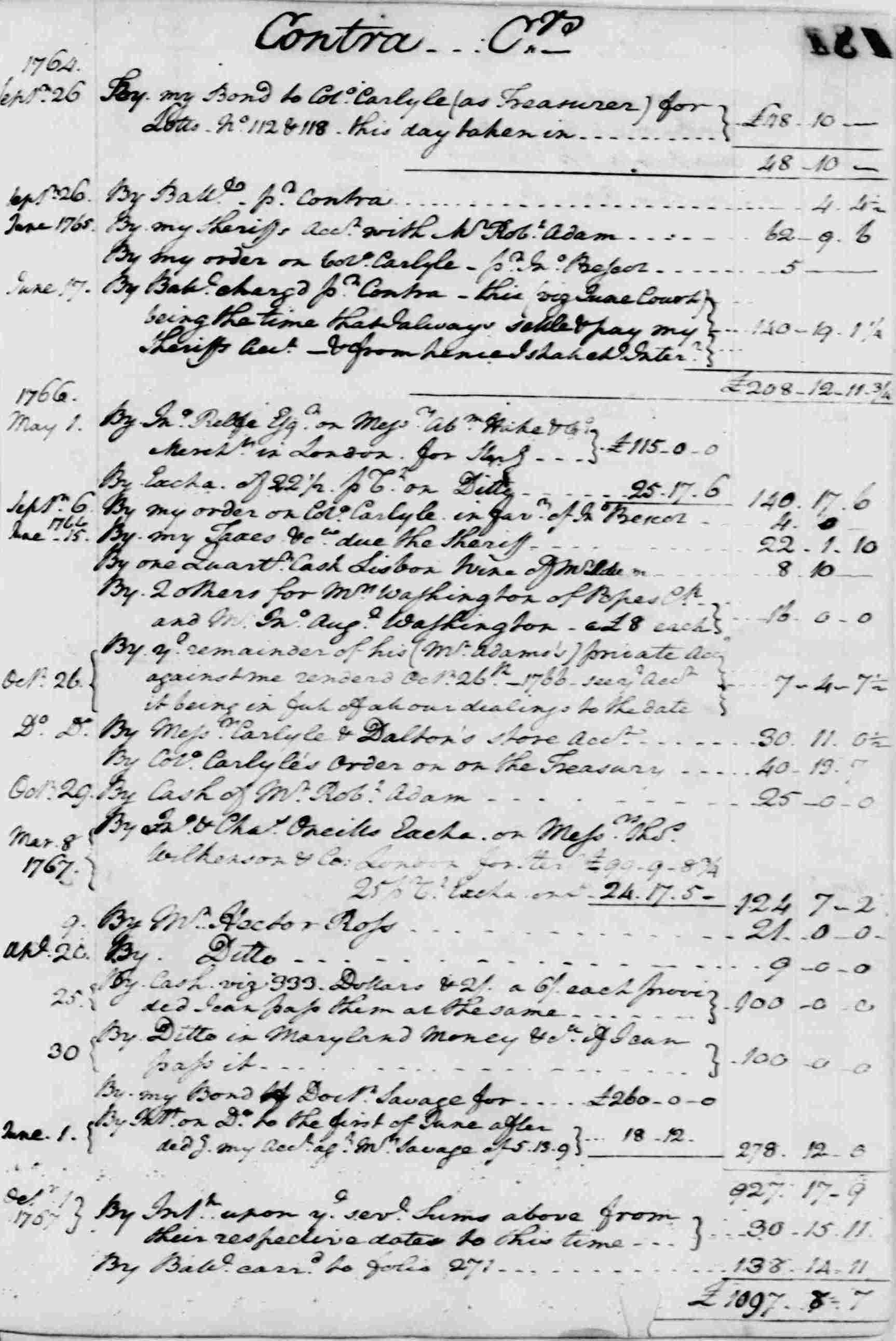 Ledger A, folio 180, right side
