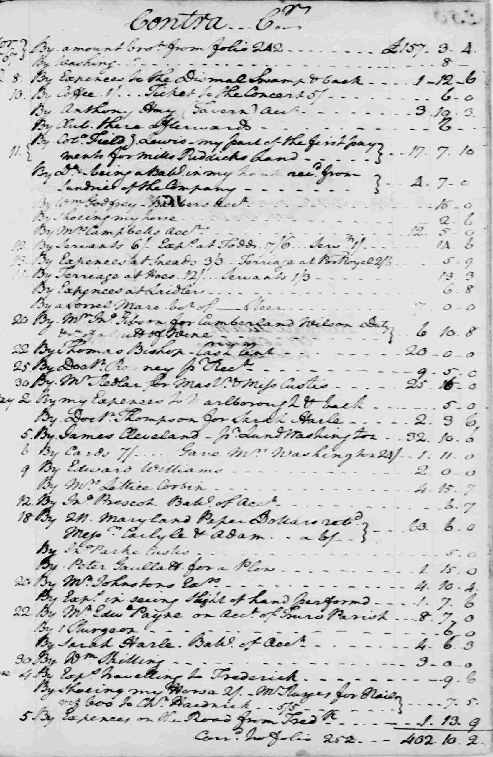 Ledger A, folio 249, right side