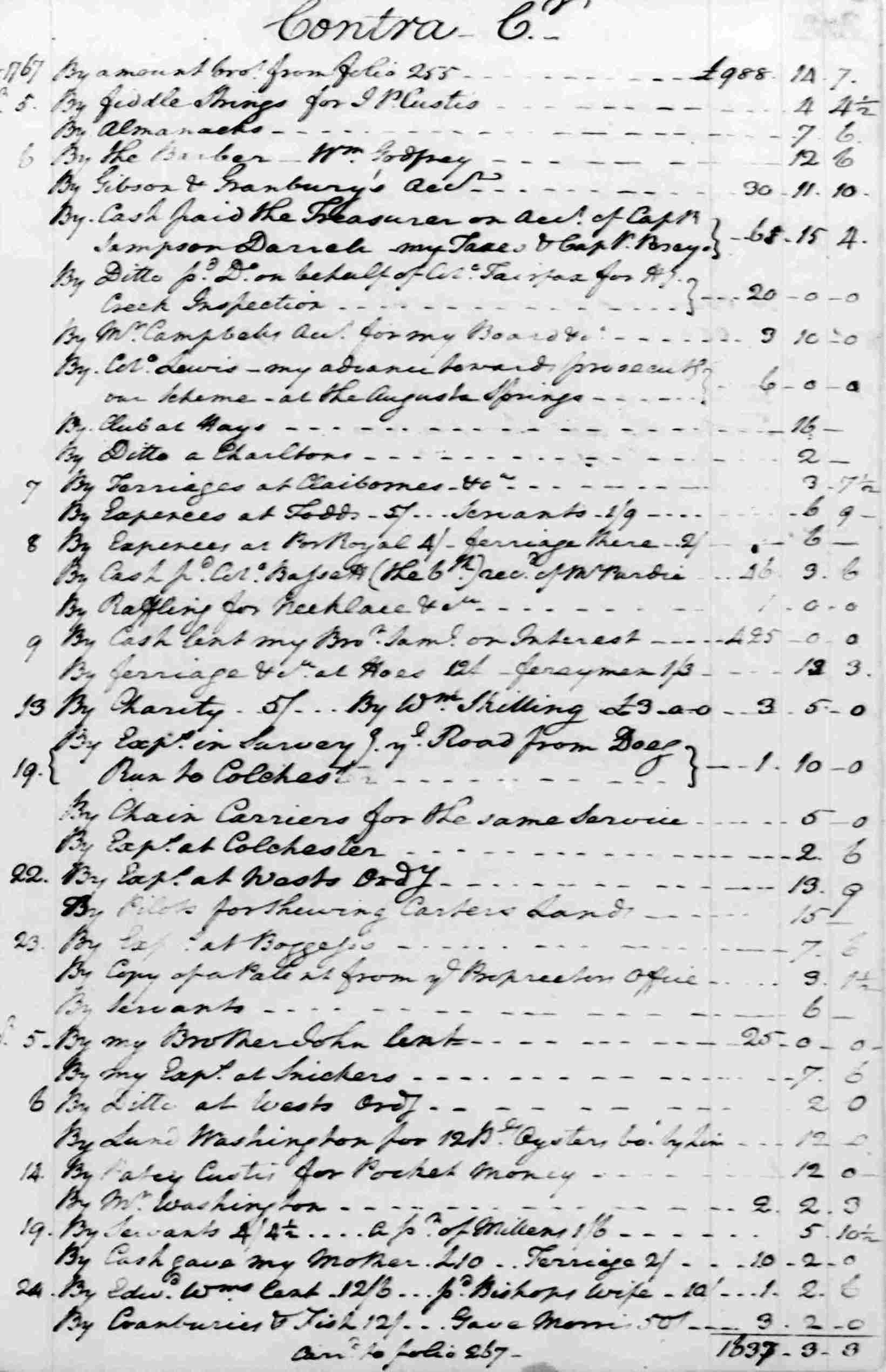 Ledger A, folio 262, right side