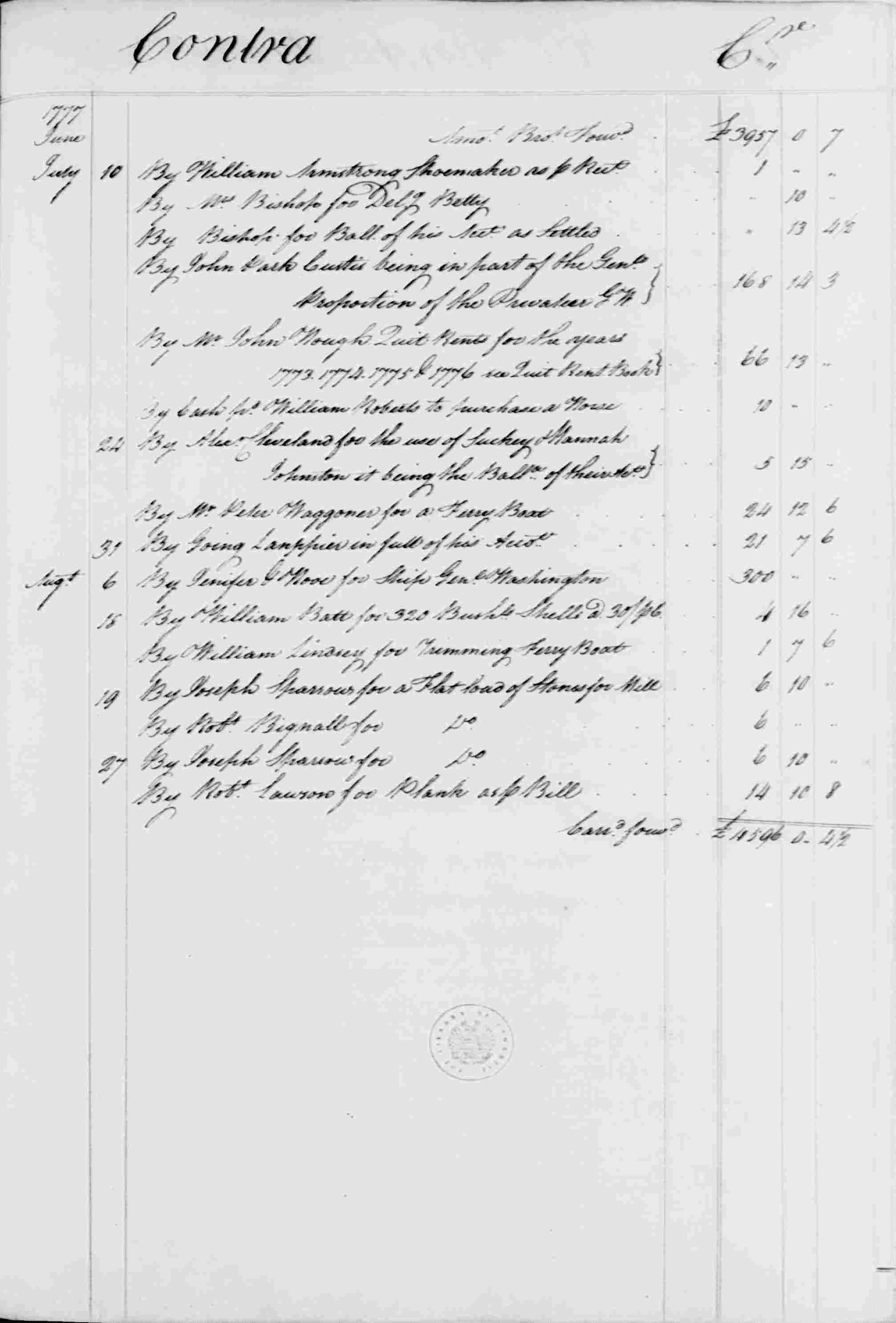 Ledger B, folio 150, right side