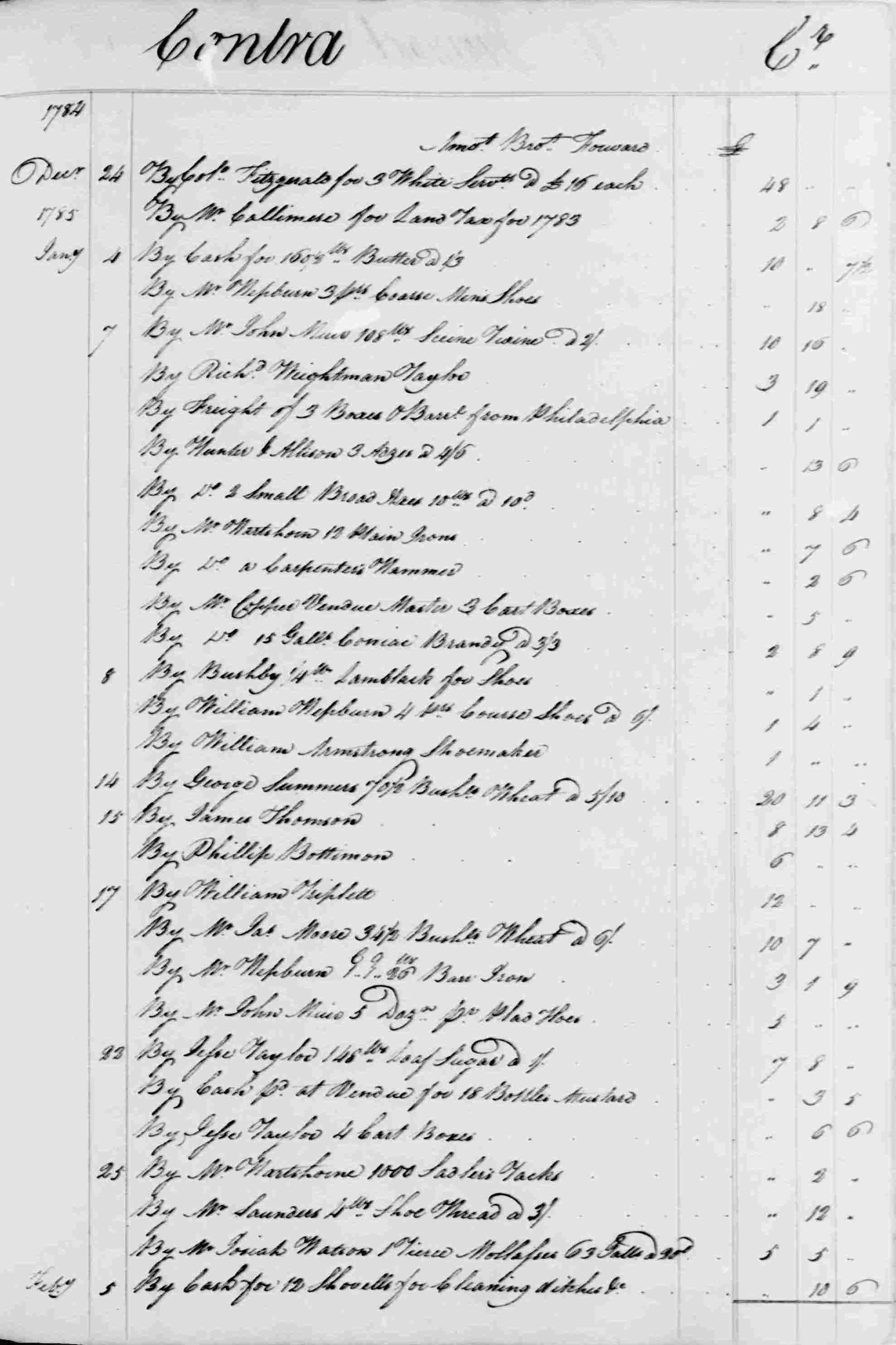 Ledger B, folio 184, right side