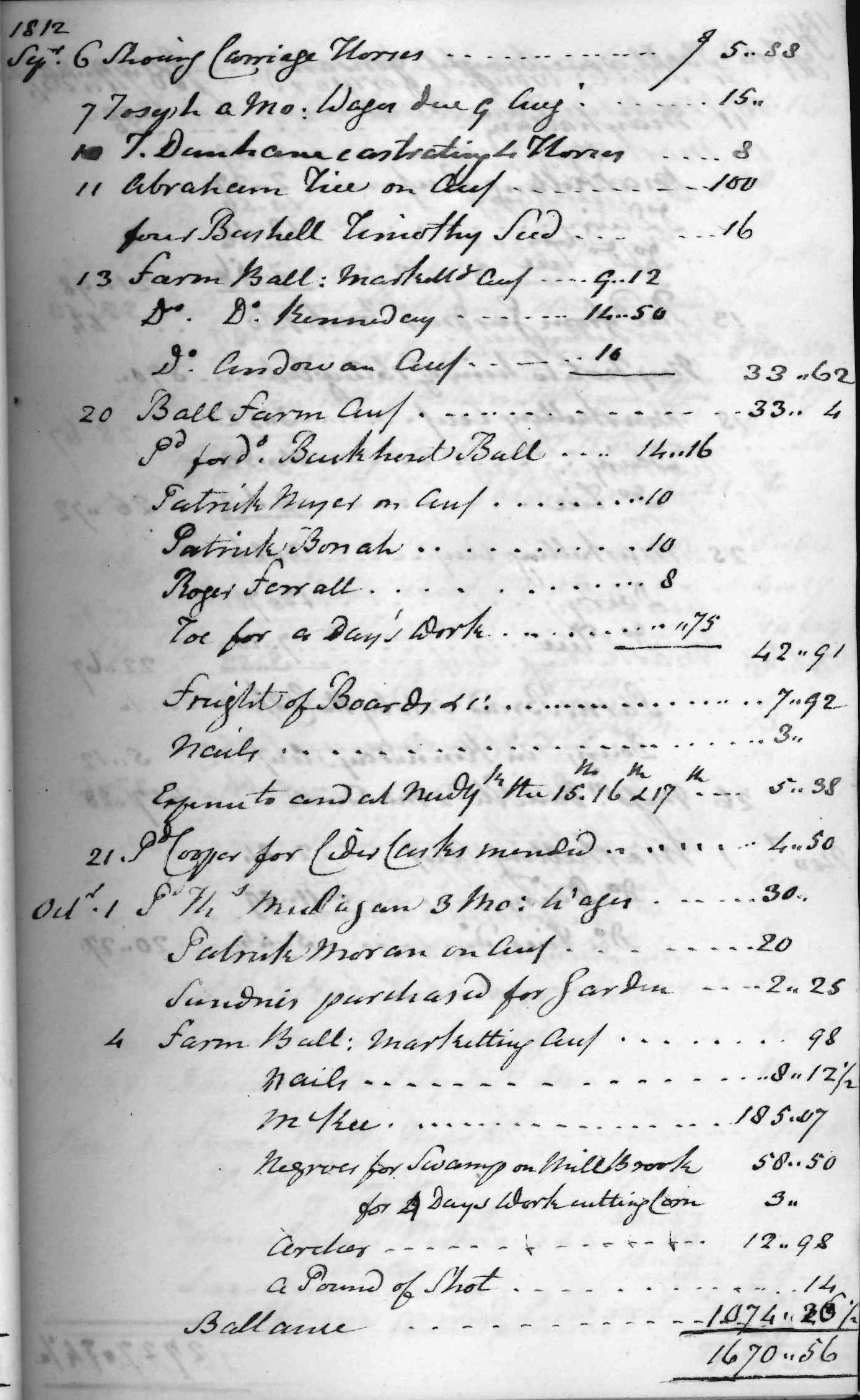 Gouverneur Morris Cash Book, folio 11, right side