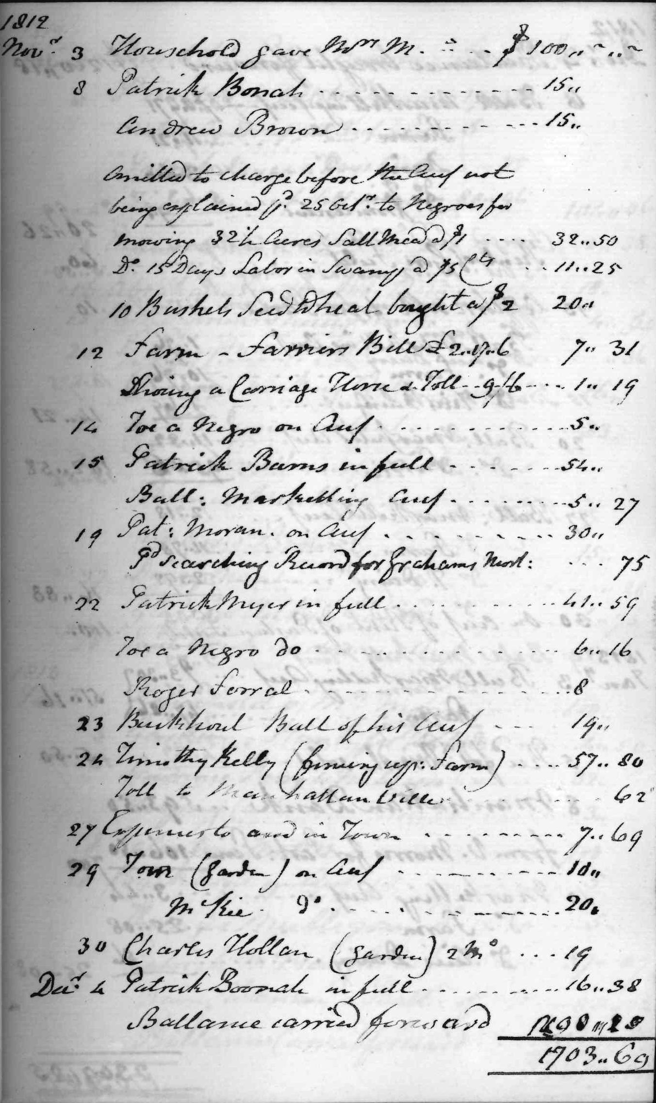 Gouverneur Morris Cash Book, folio 13, right side
