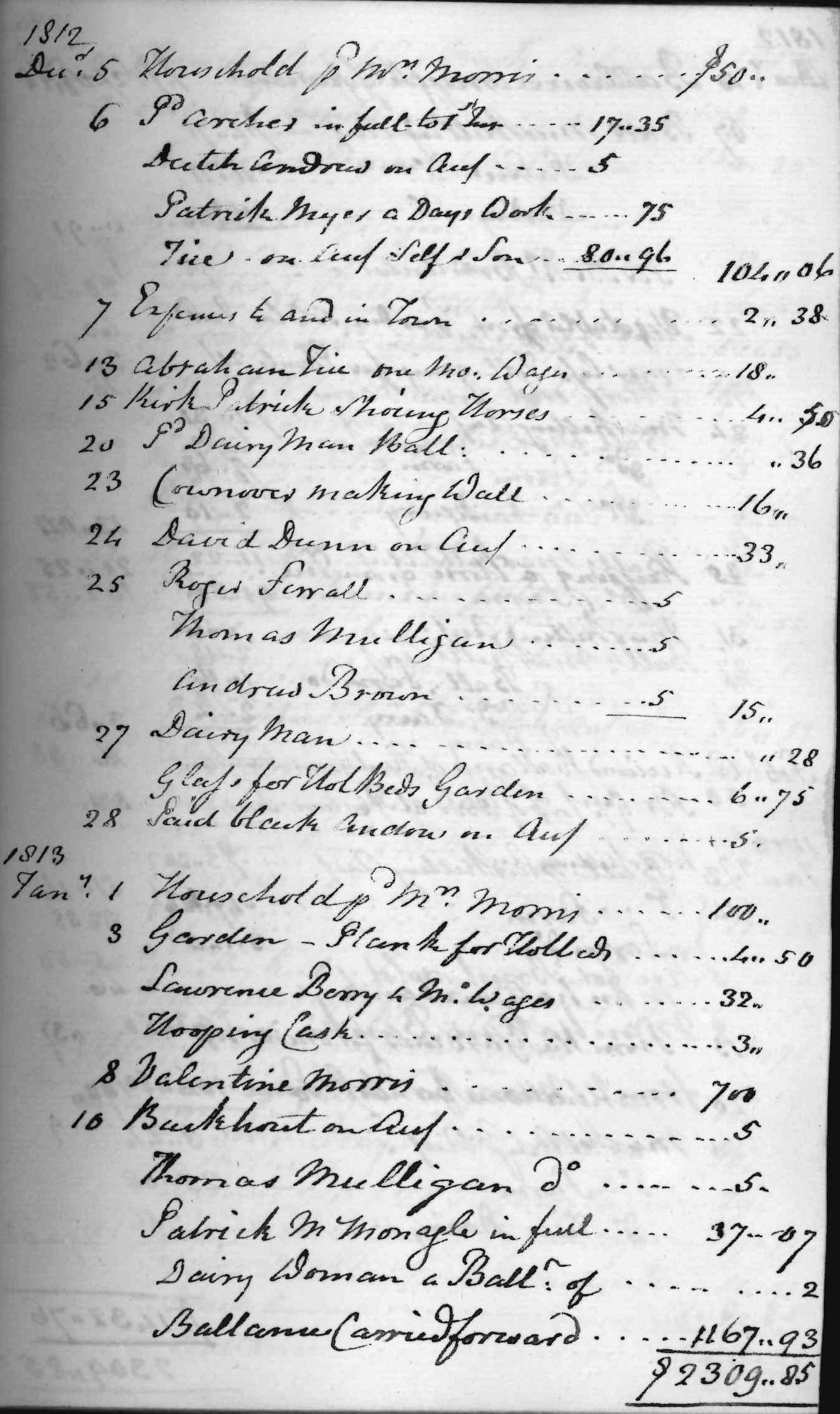 Gouverneur Morris Cash Book, folio 14, right side
