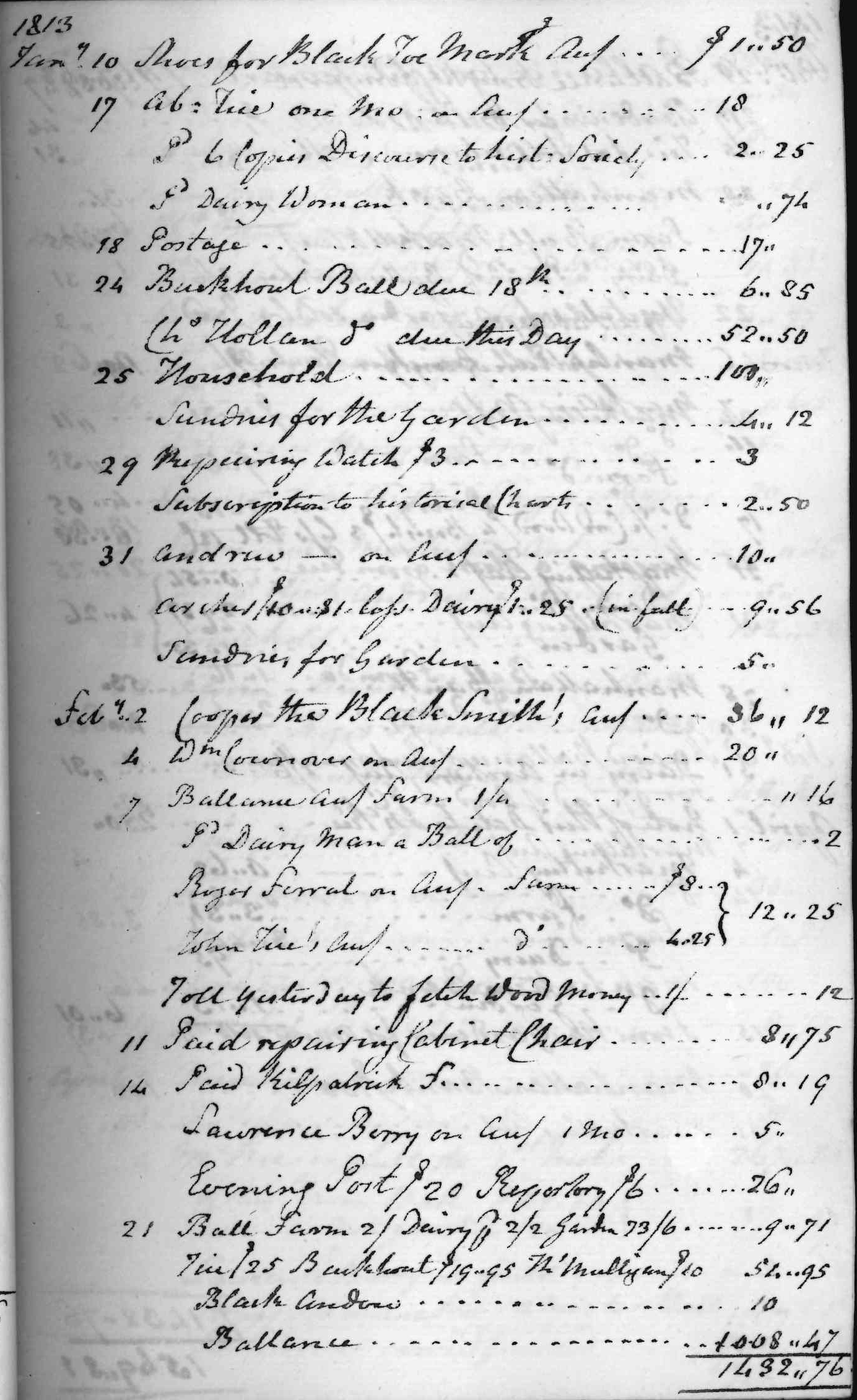 Gouverneur Morris Cash Book, folio 15, right side