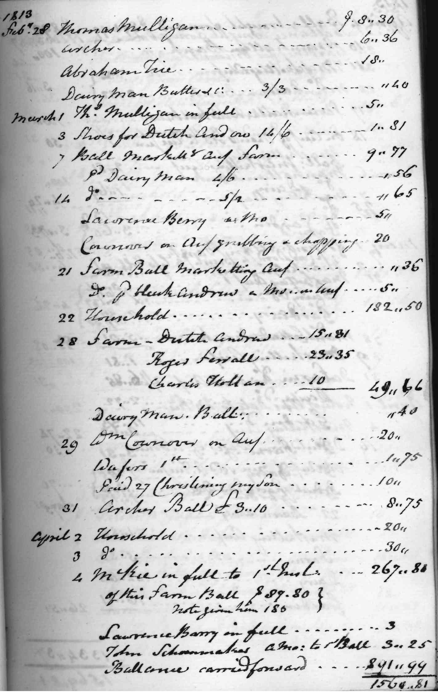 Gouverneur Morris Cash Book, folio 16, right side