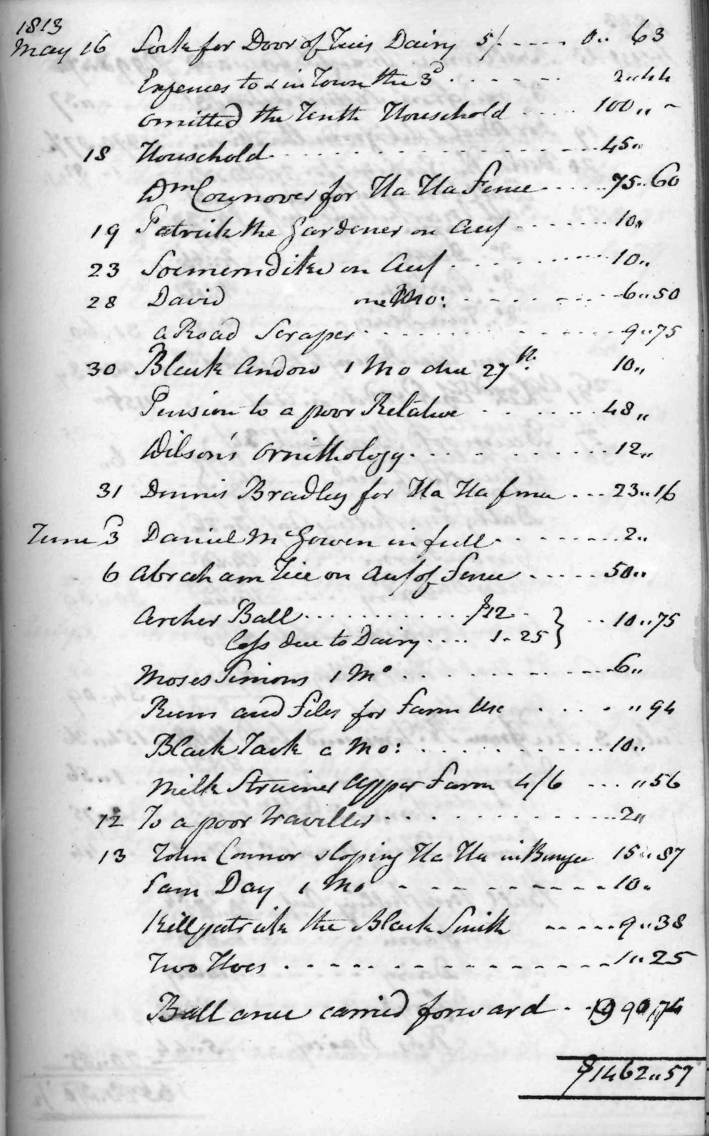 Gouverneur Morris Cash Book, folio 18, right side
