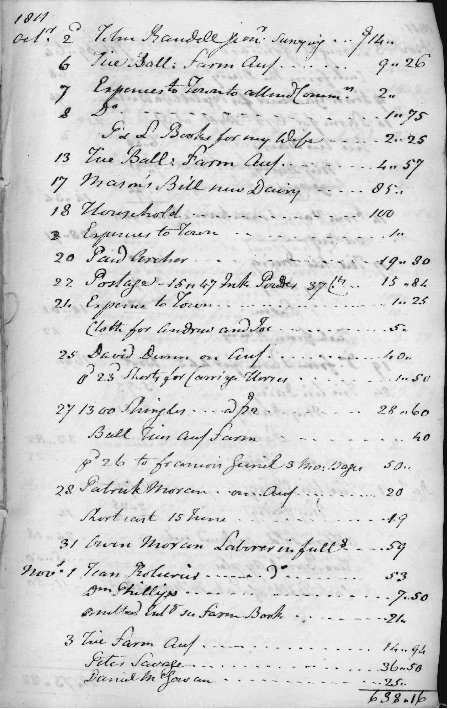Gouverneur Morris Cash Book, folio 2, right side