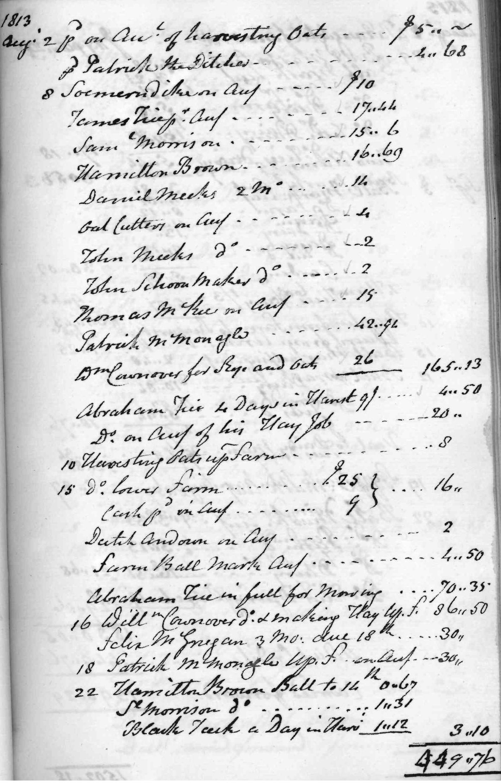 Gouverneur Morris Cash Book, folio 21, right side