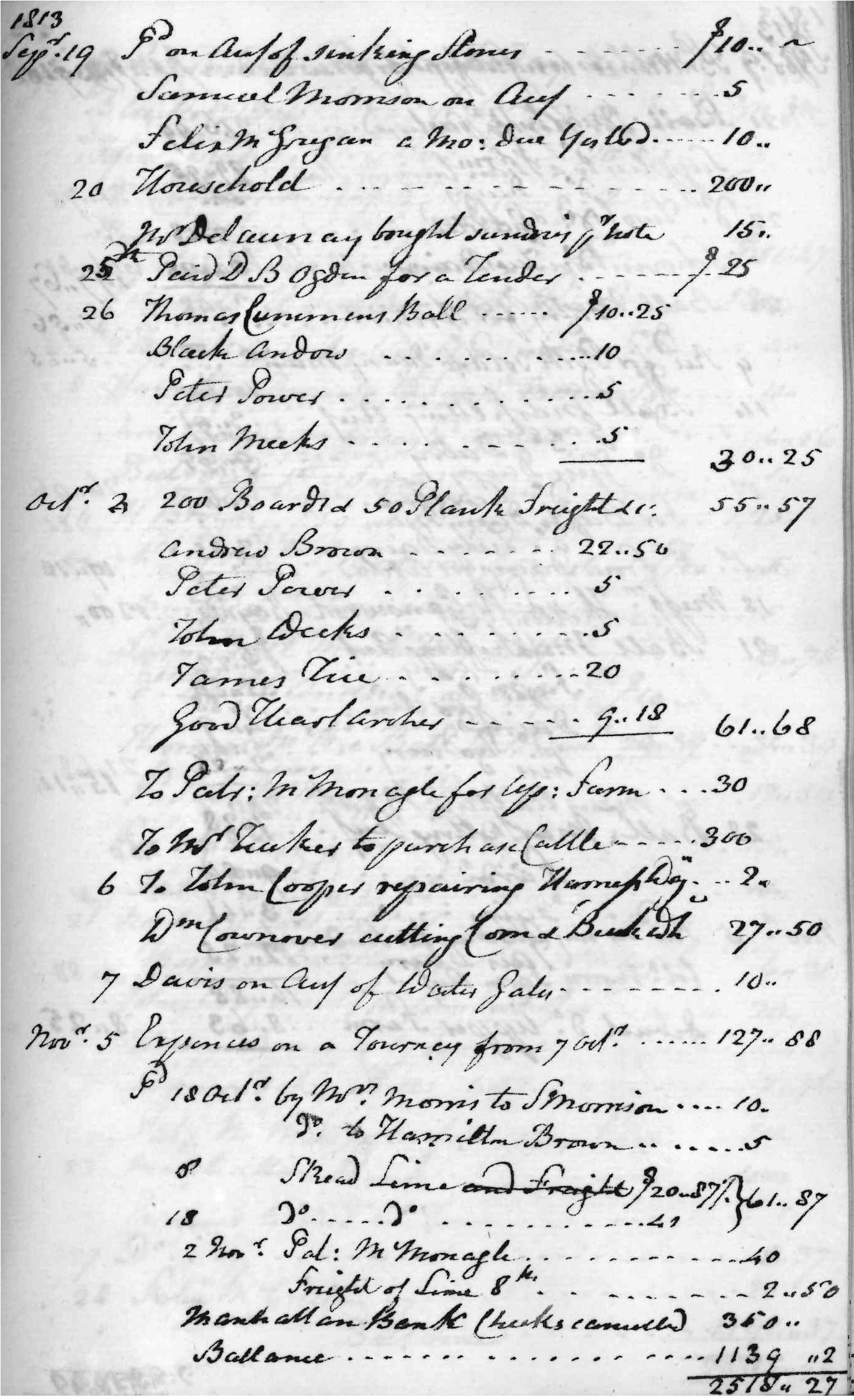Gouverneur Morris Cash Book, folio 23, right side