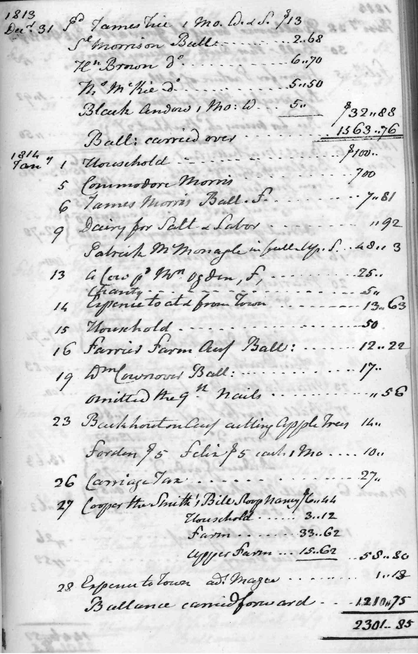 Gouverneur Morris Cash Book, folio 26, right side