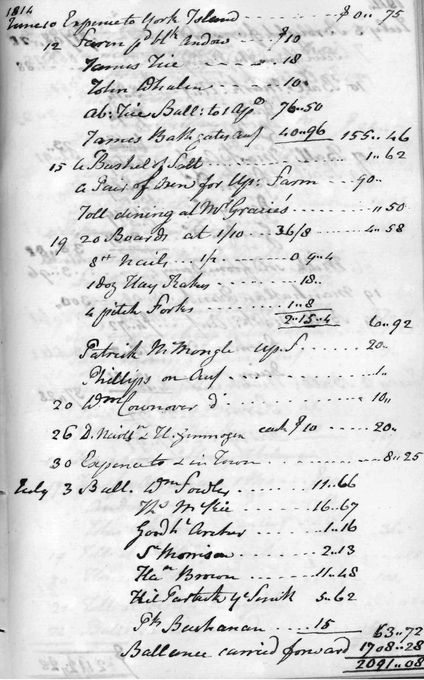 Gouverneur Morris Cash Book, folio 31, right side