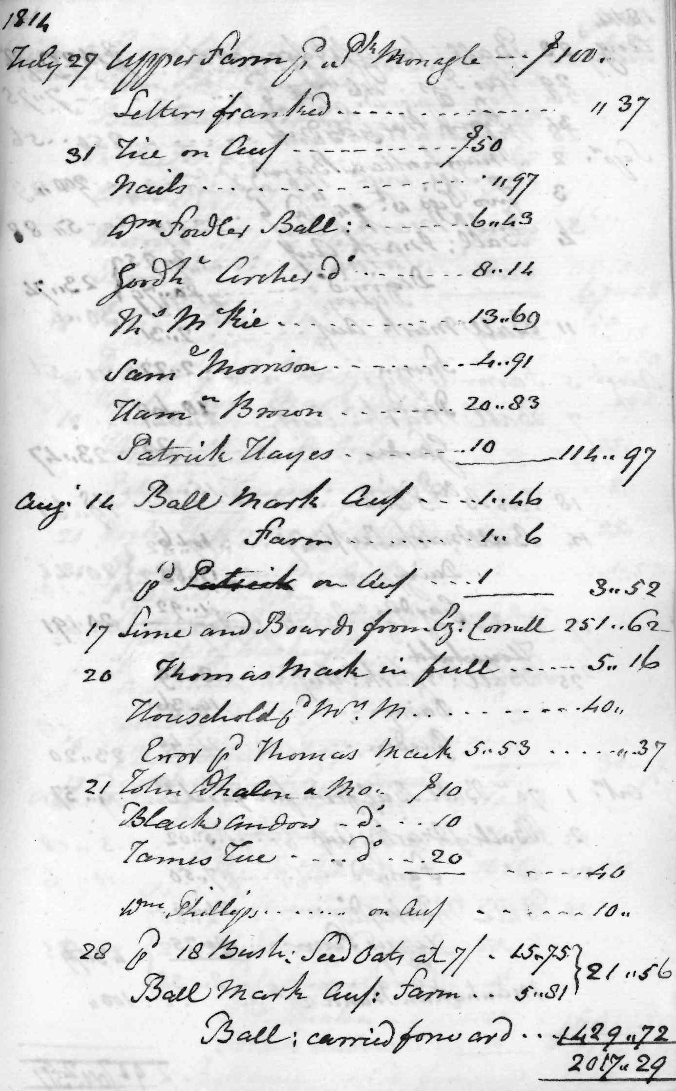Gouverneur Morris Cash Book, folio 33, right side