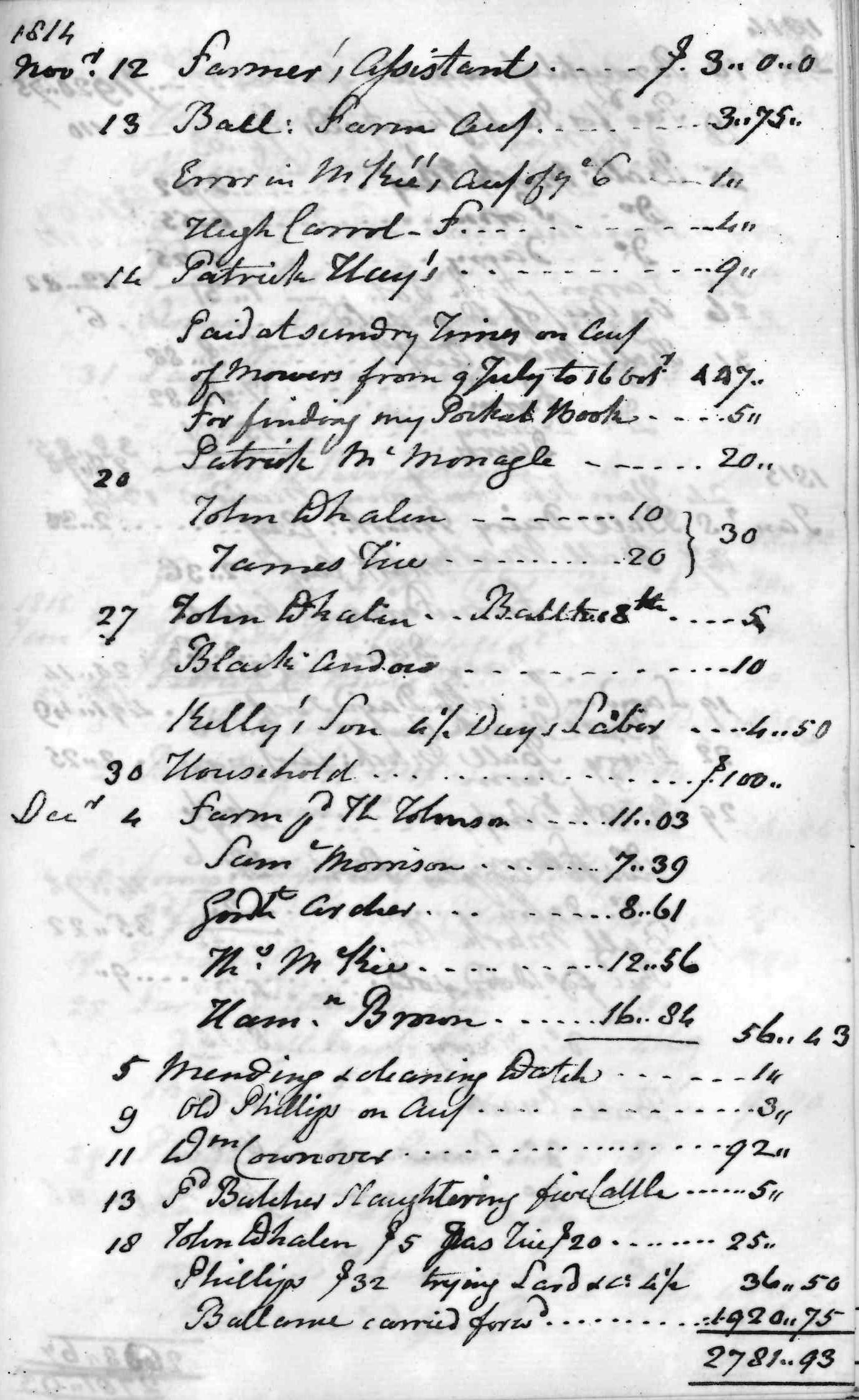 Gouverneur Morris Cash Book, folio 36, right side