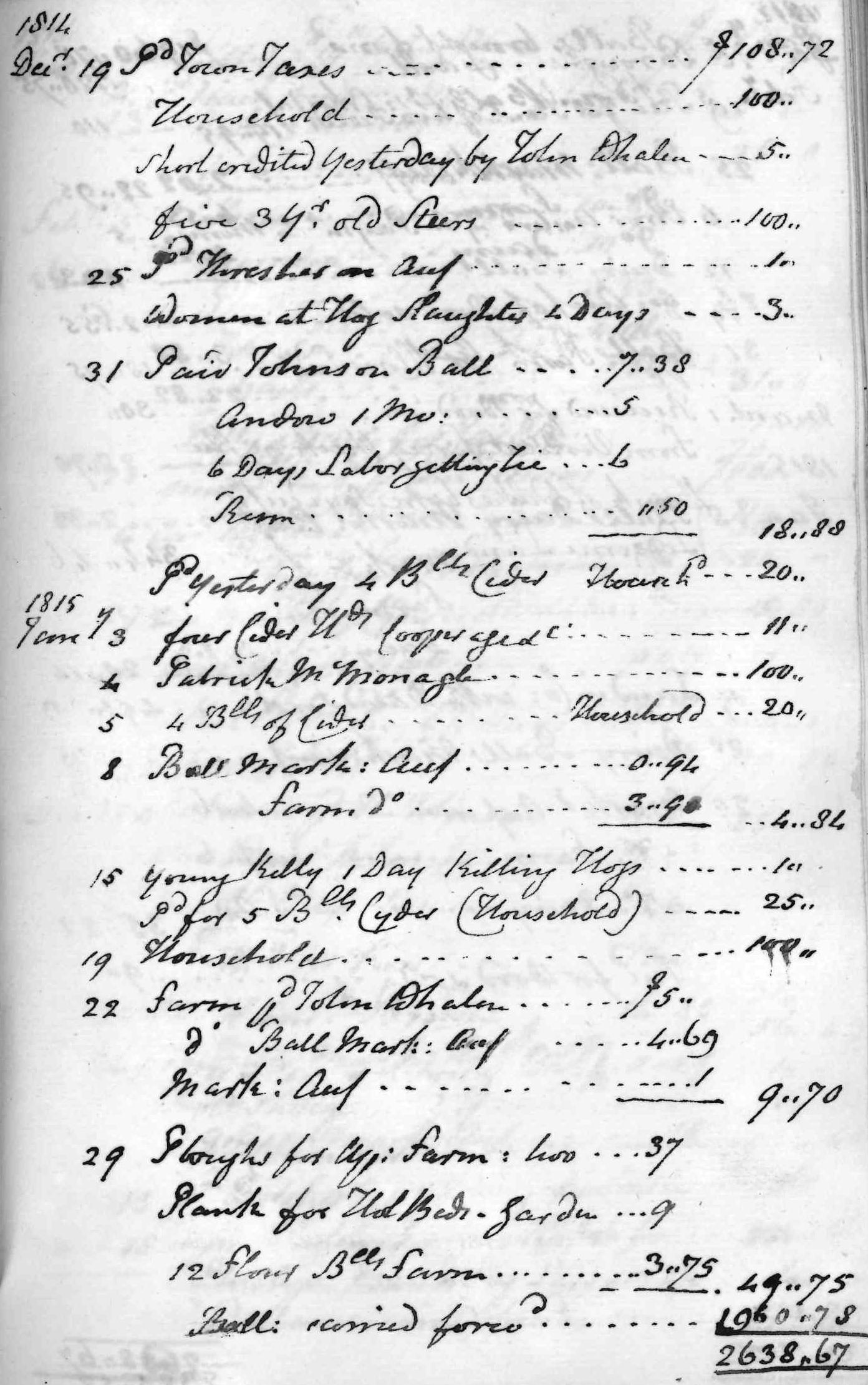 Gouverneur Morris Cash Book, folio 37, right side