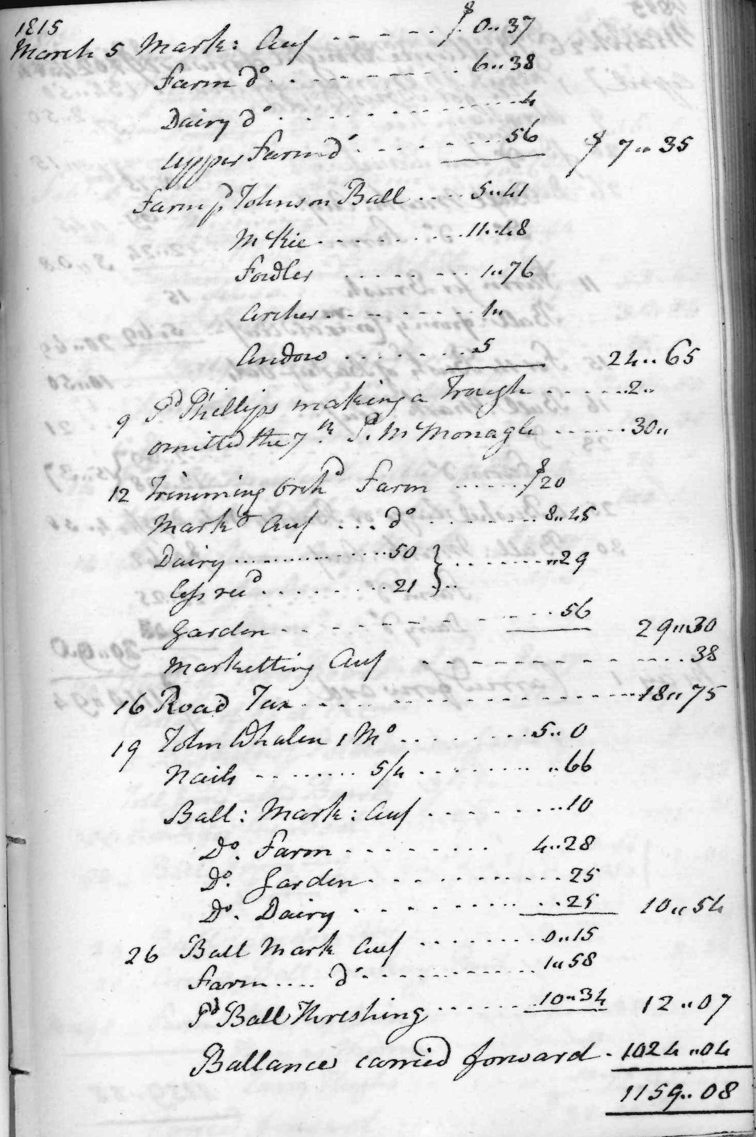 Gouverneur Morris Cash Book, folio 39, right side