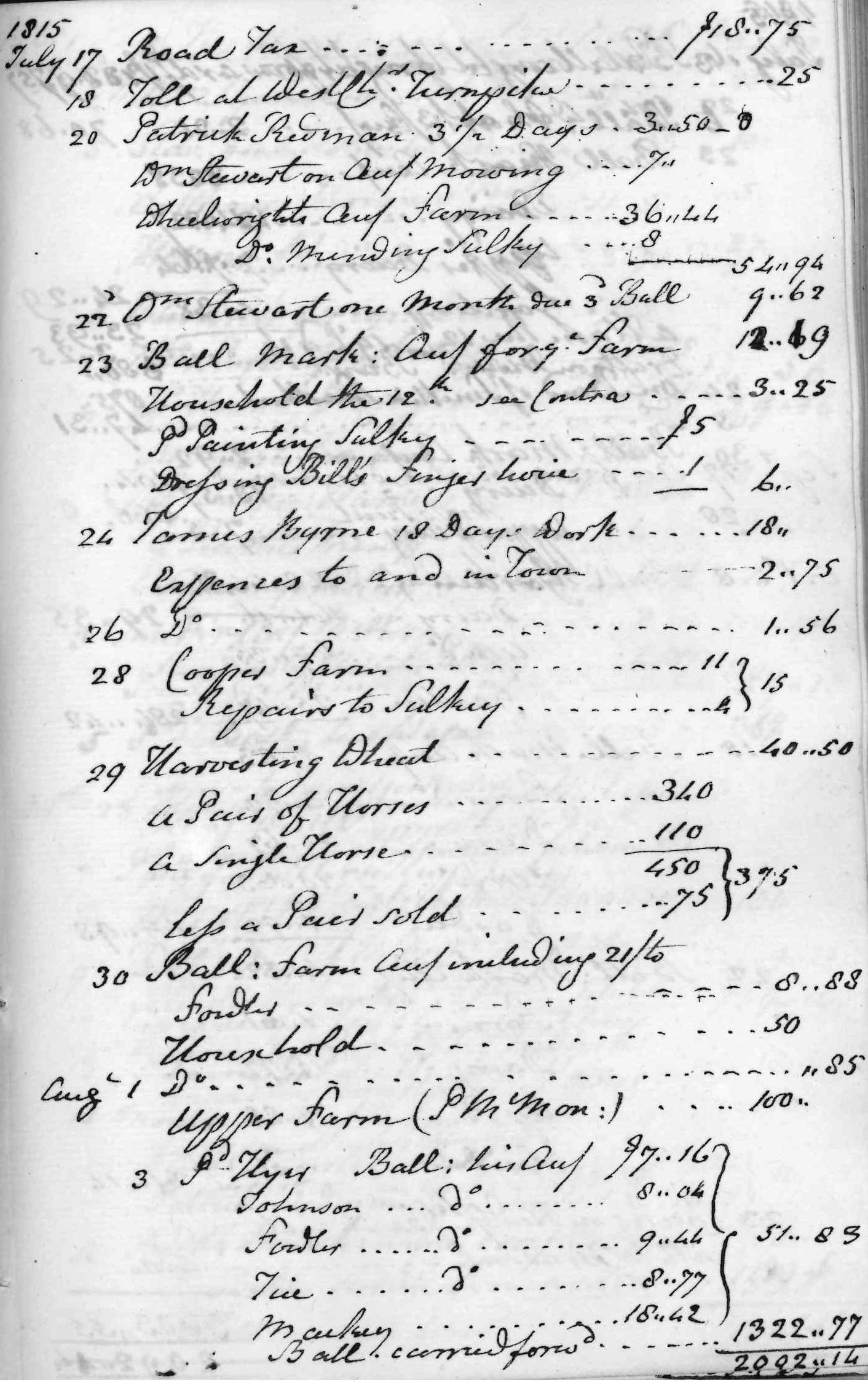 Gouverneur Morris Cash Book, folio 44, right side