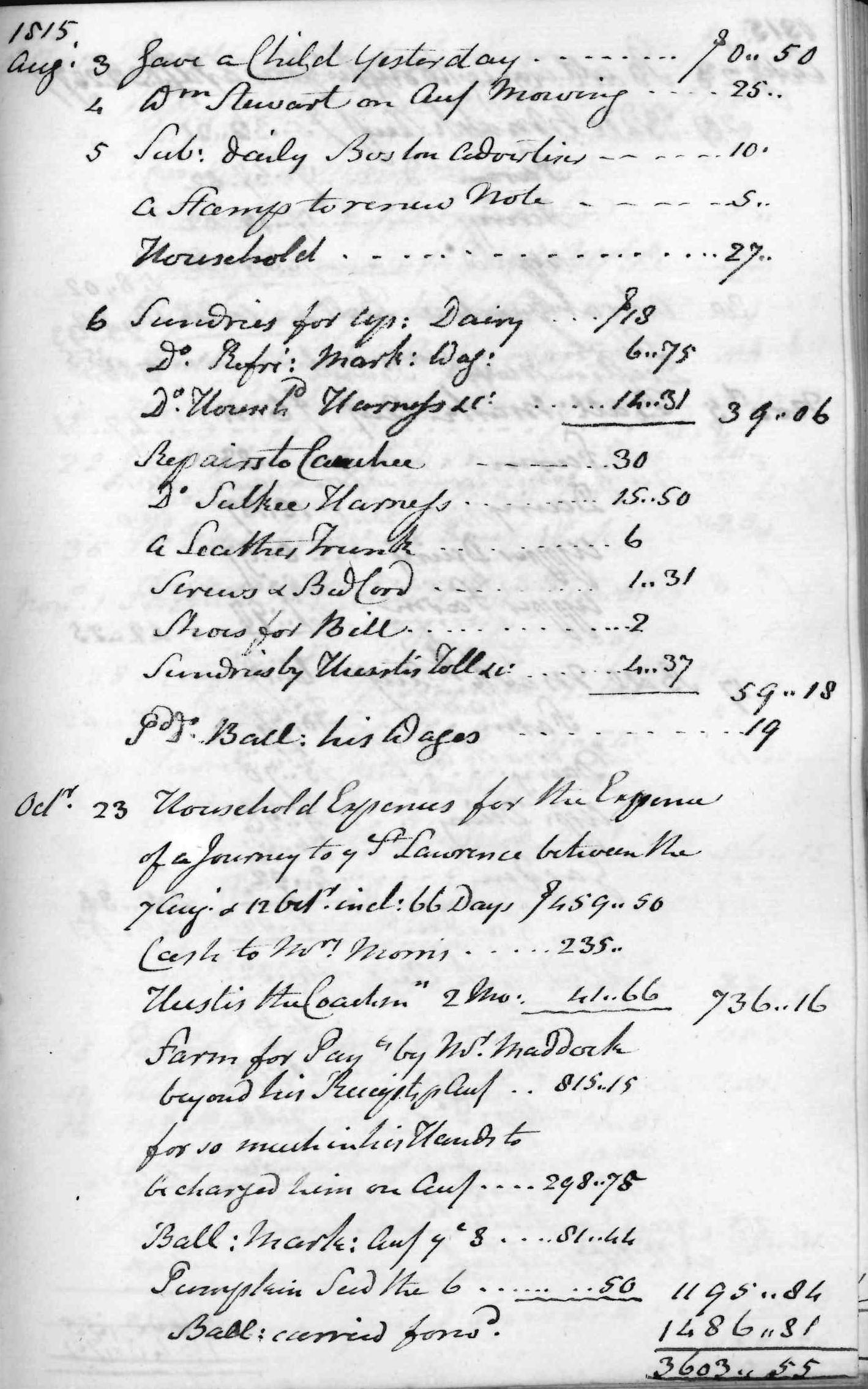Gouverneur Morris Cash Book, folio 45, right side