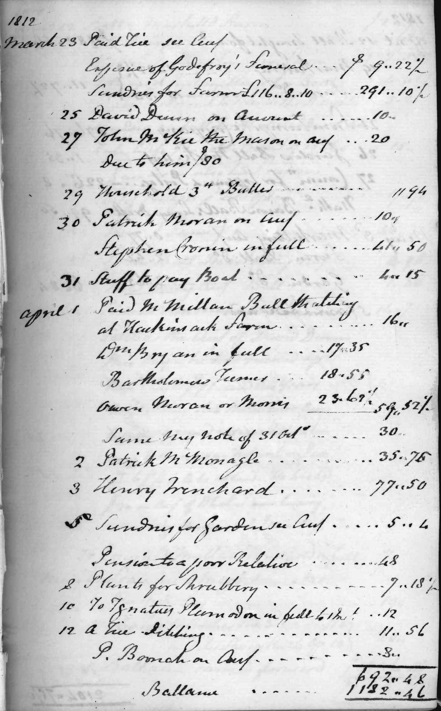 Gouverneur Morris Cash Book, folio 5, right side