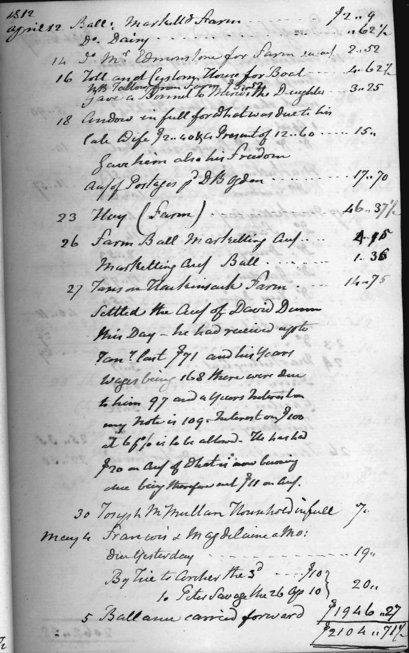 Gouverneur Morris Cash Book, folio 6, right side