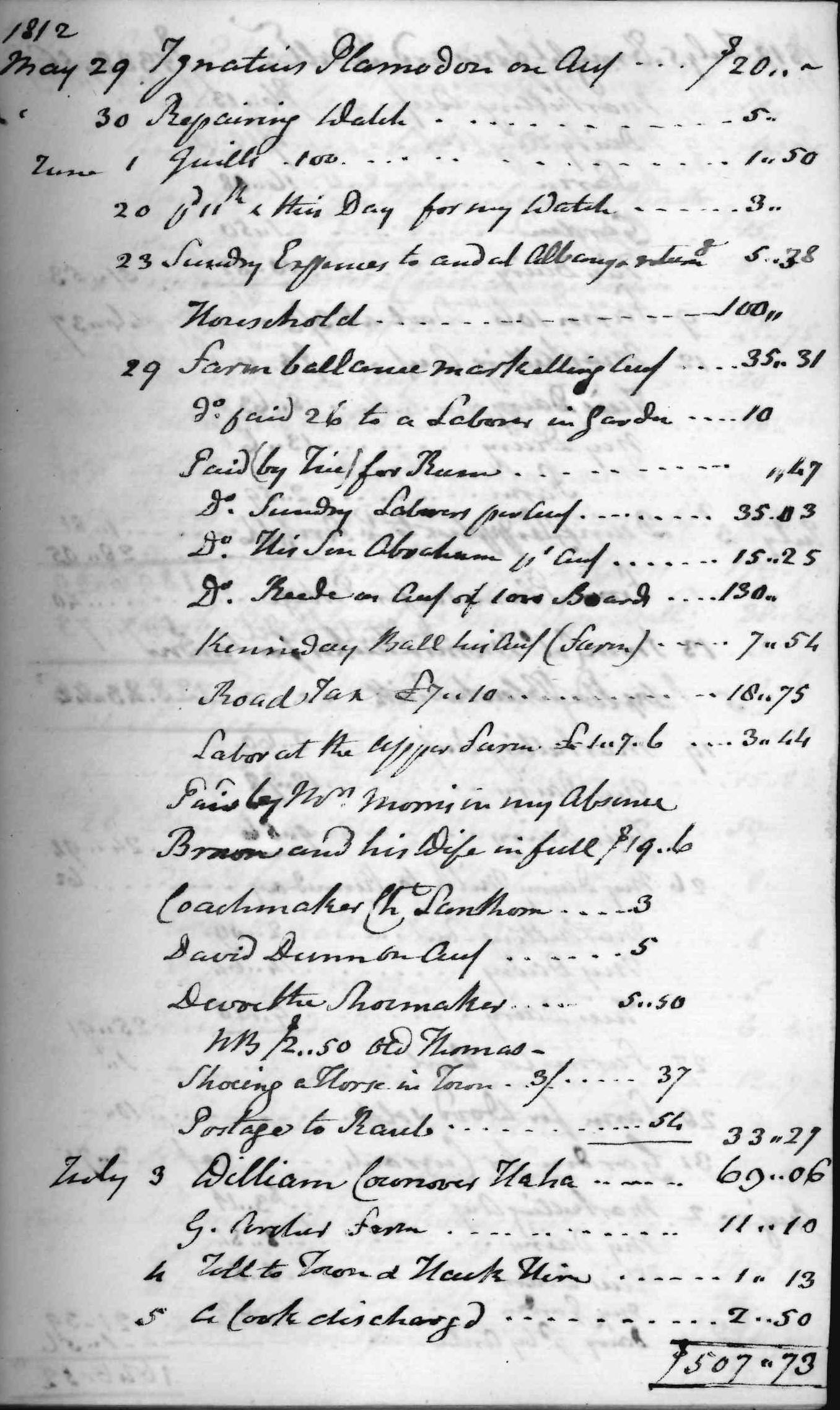 Gouverneur Morris Cash Book, folio 8, right side