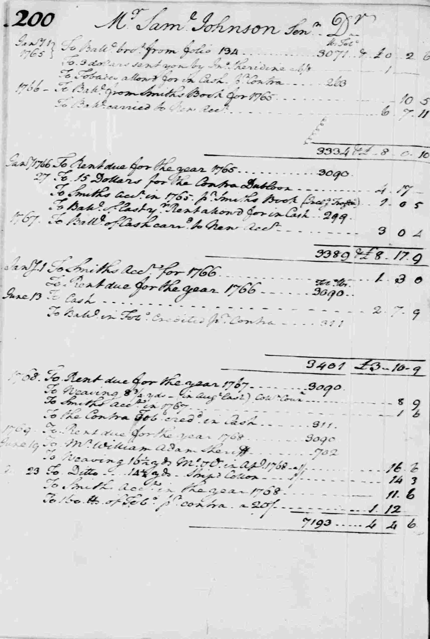 Ledger A, folio 200, left side