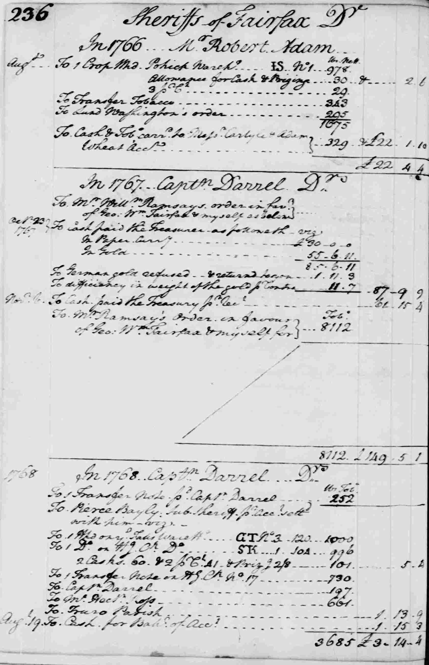 Ledger A, folio 236, left side
