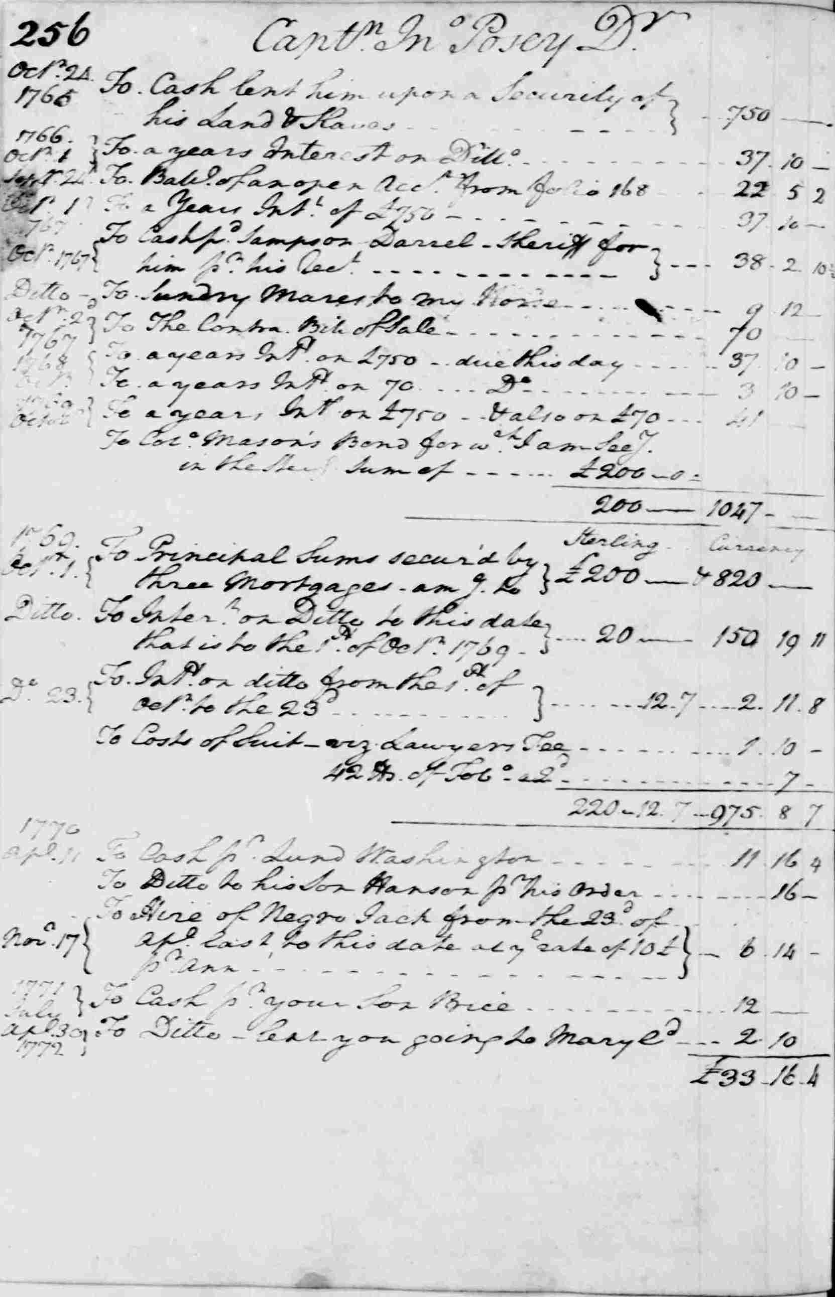 Ledger A, folio 256, left side