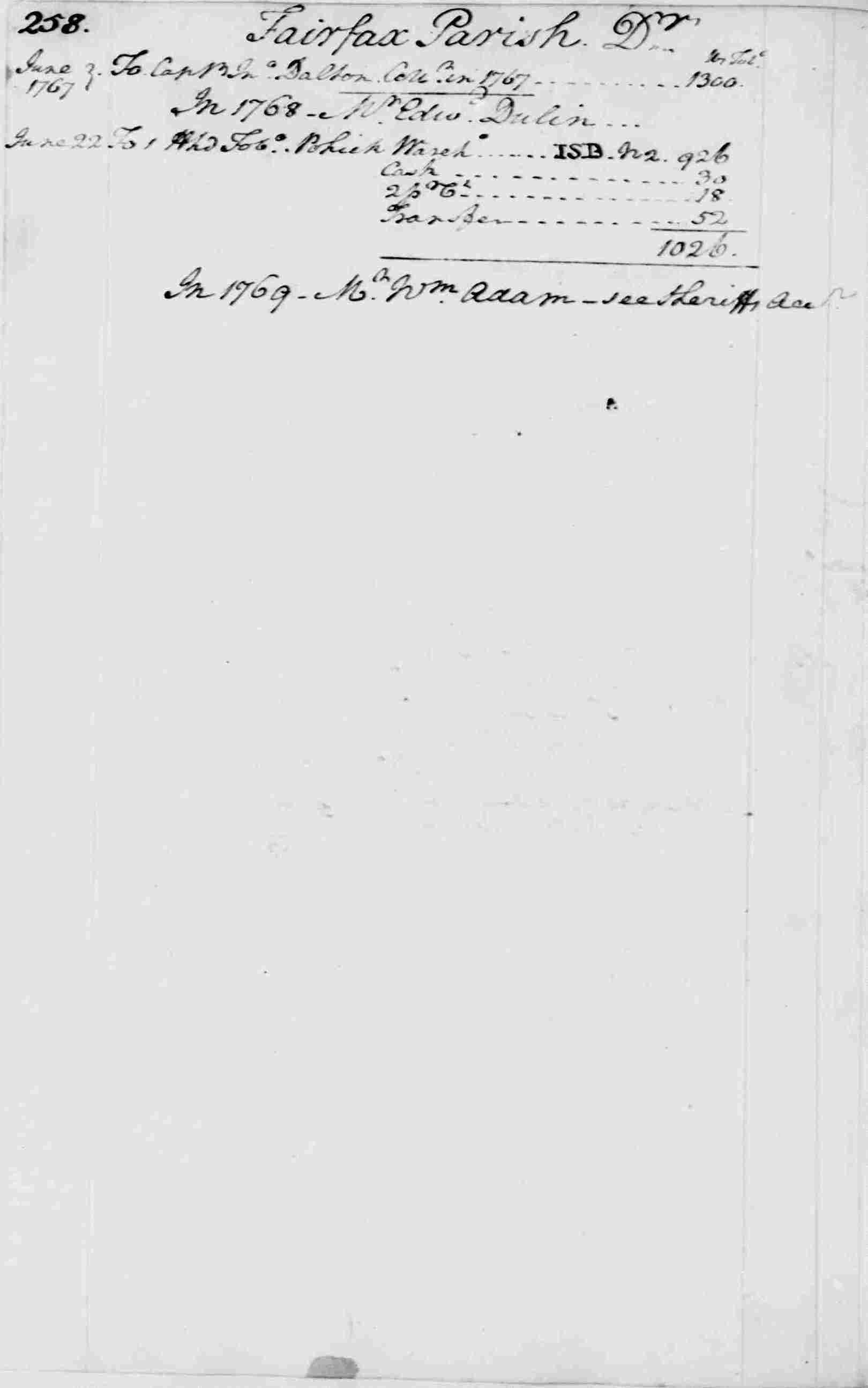 Ledger A, folio 258, left side