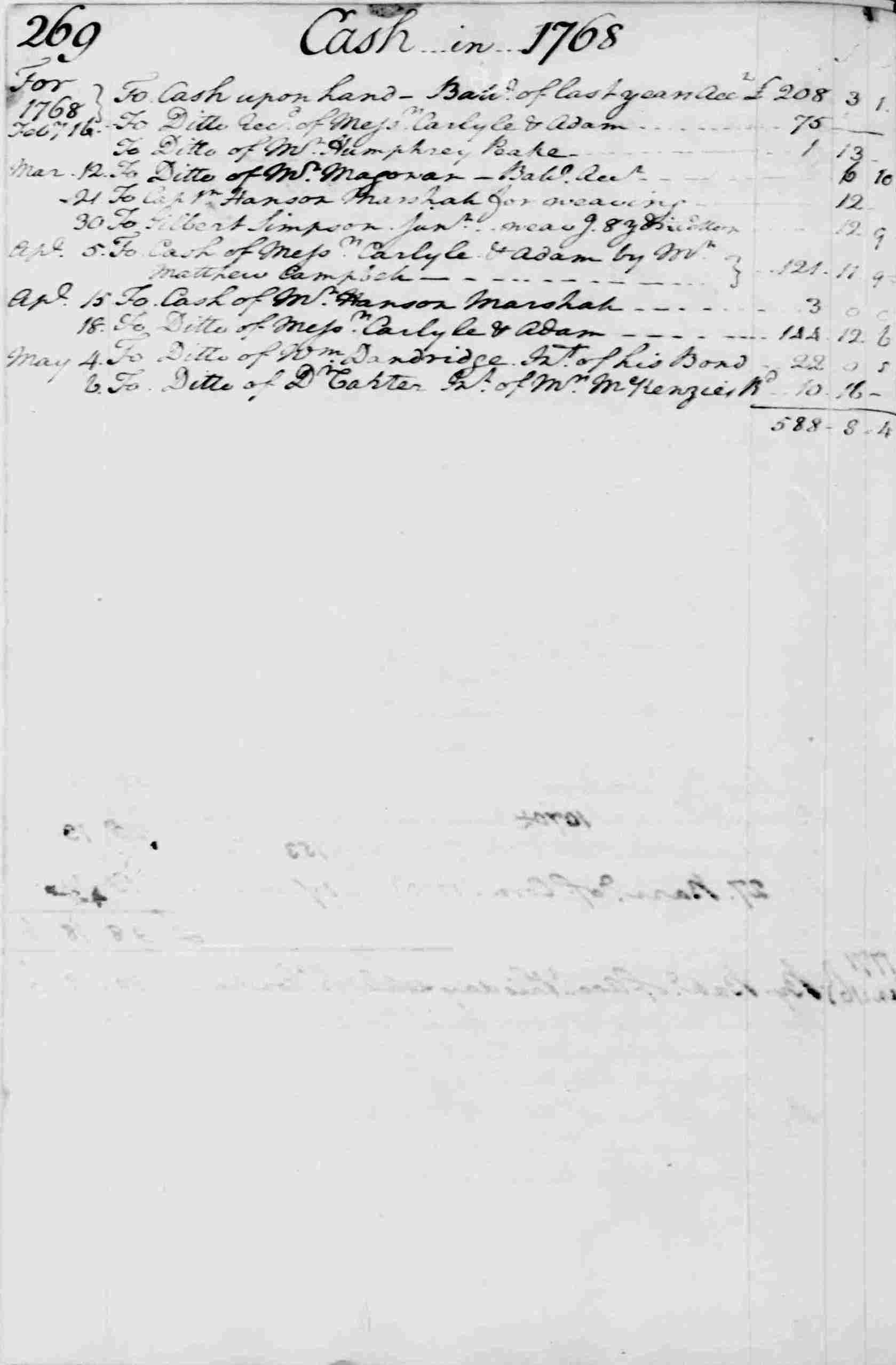 Ledger A, folio 269, left side