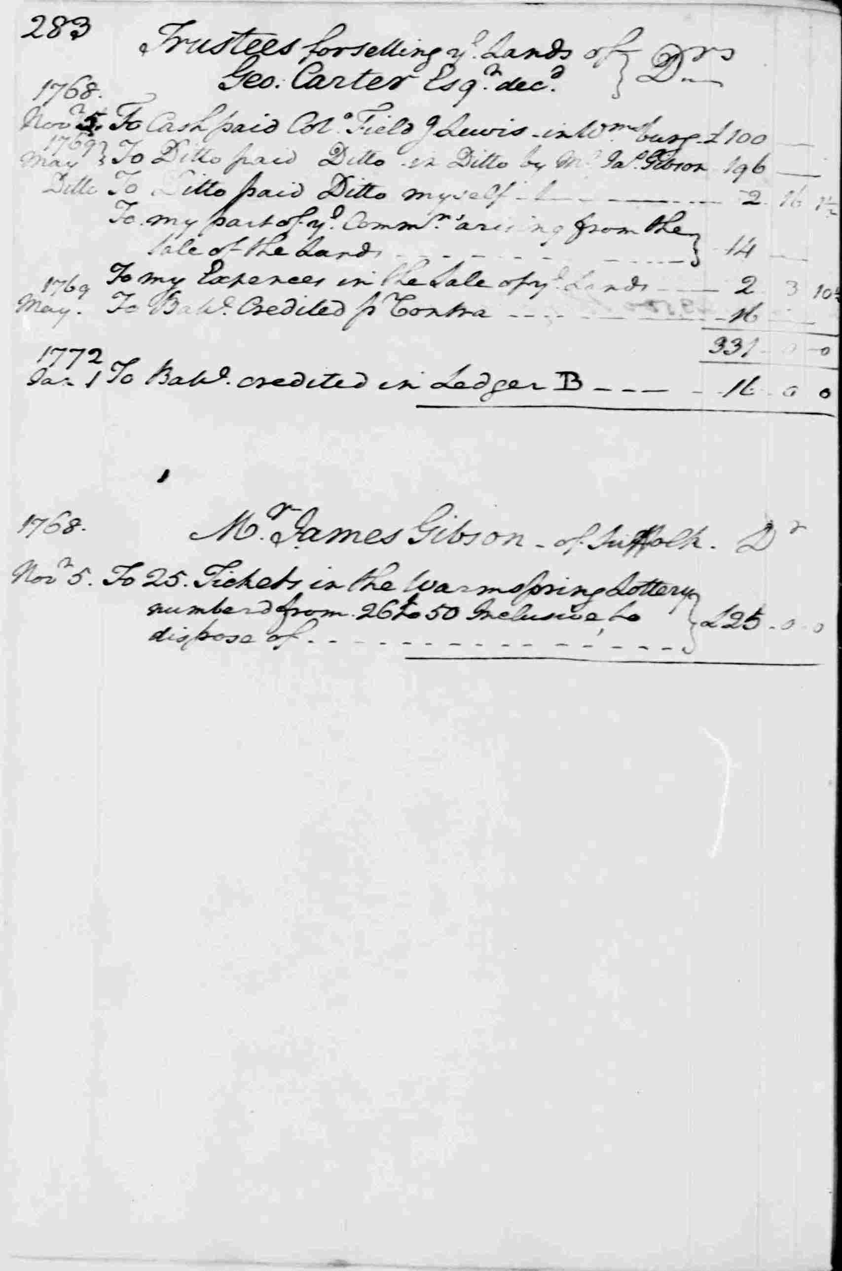 Ledger A, folio 238, left side