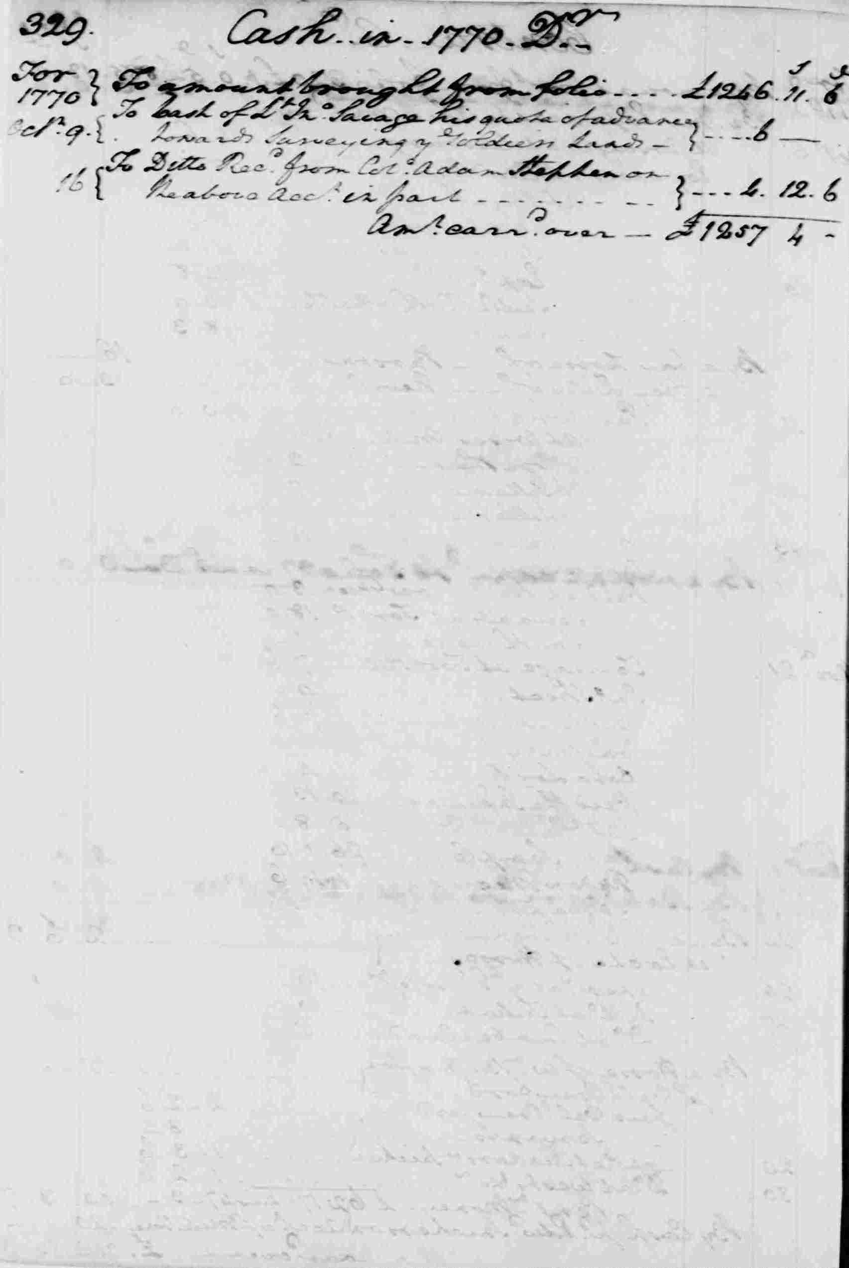 Ledger A, folio 329, left side