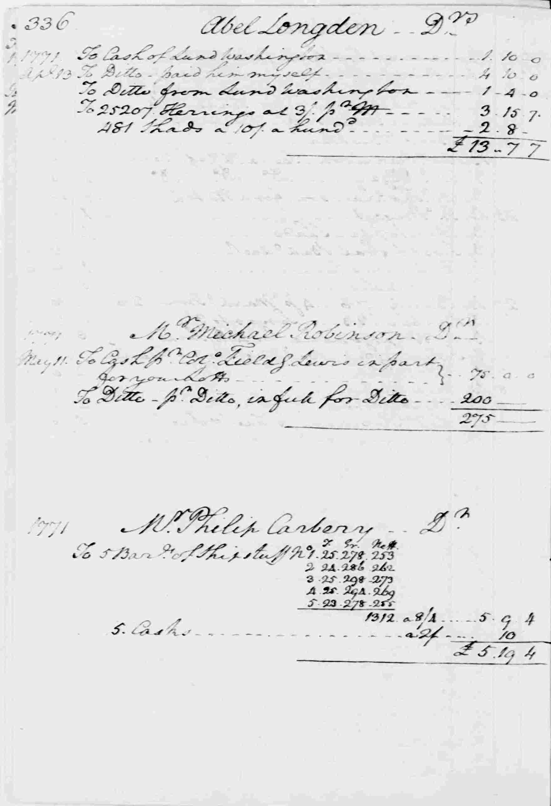 Ledger A, folio 336, left side