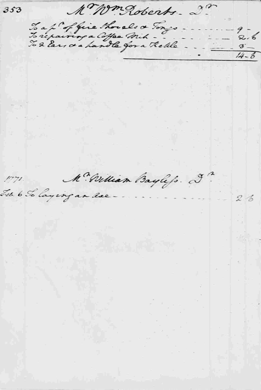 Ledger A, folio 353, left side