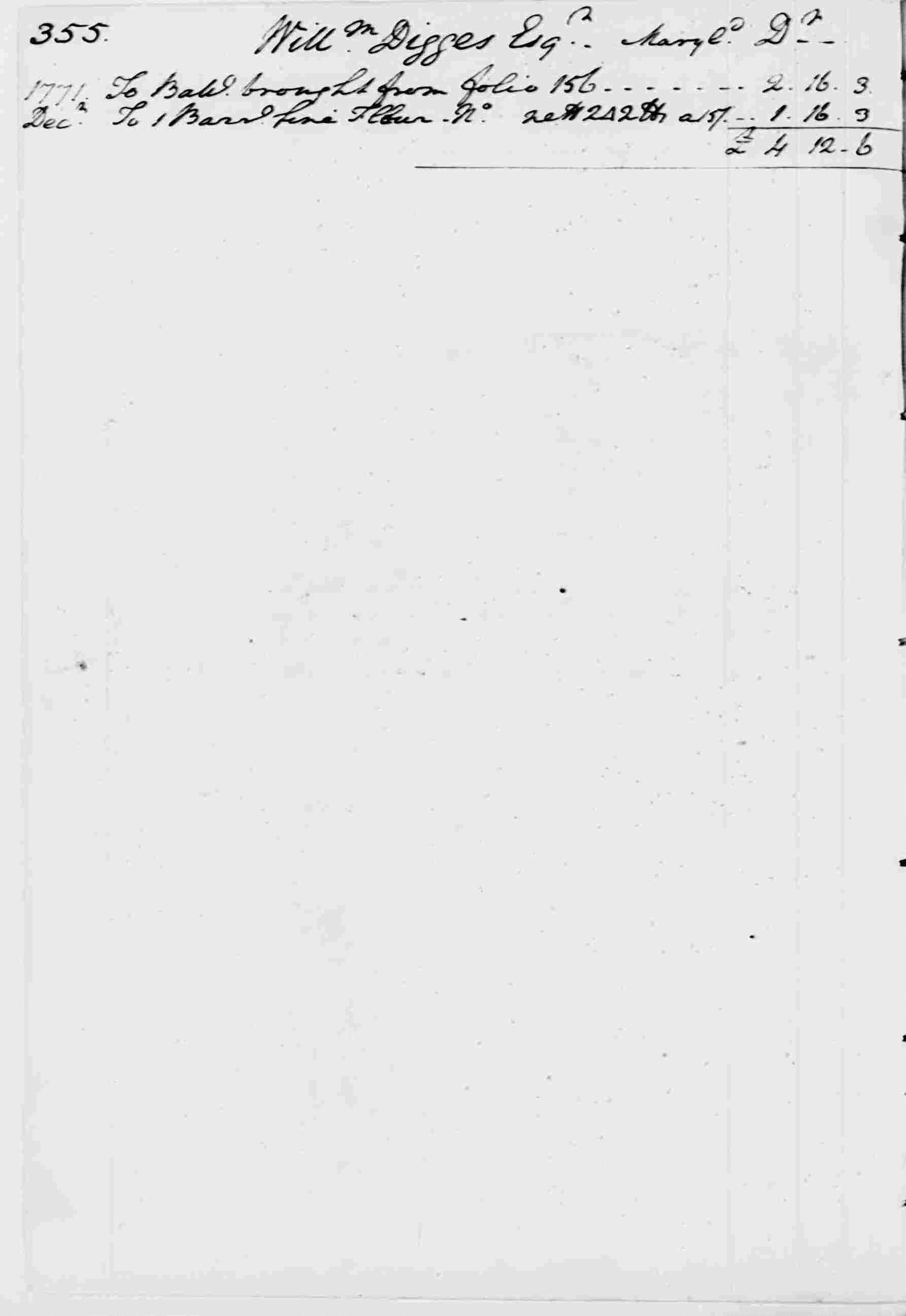 Ledger A, folio 355, left side