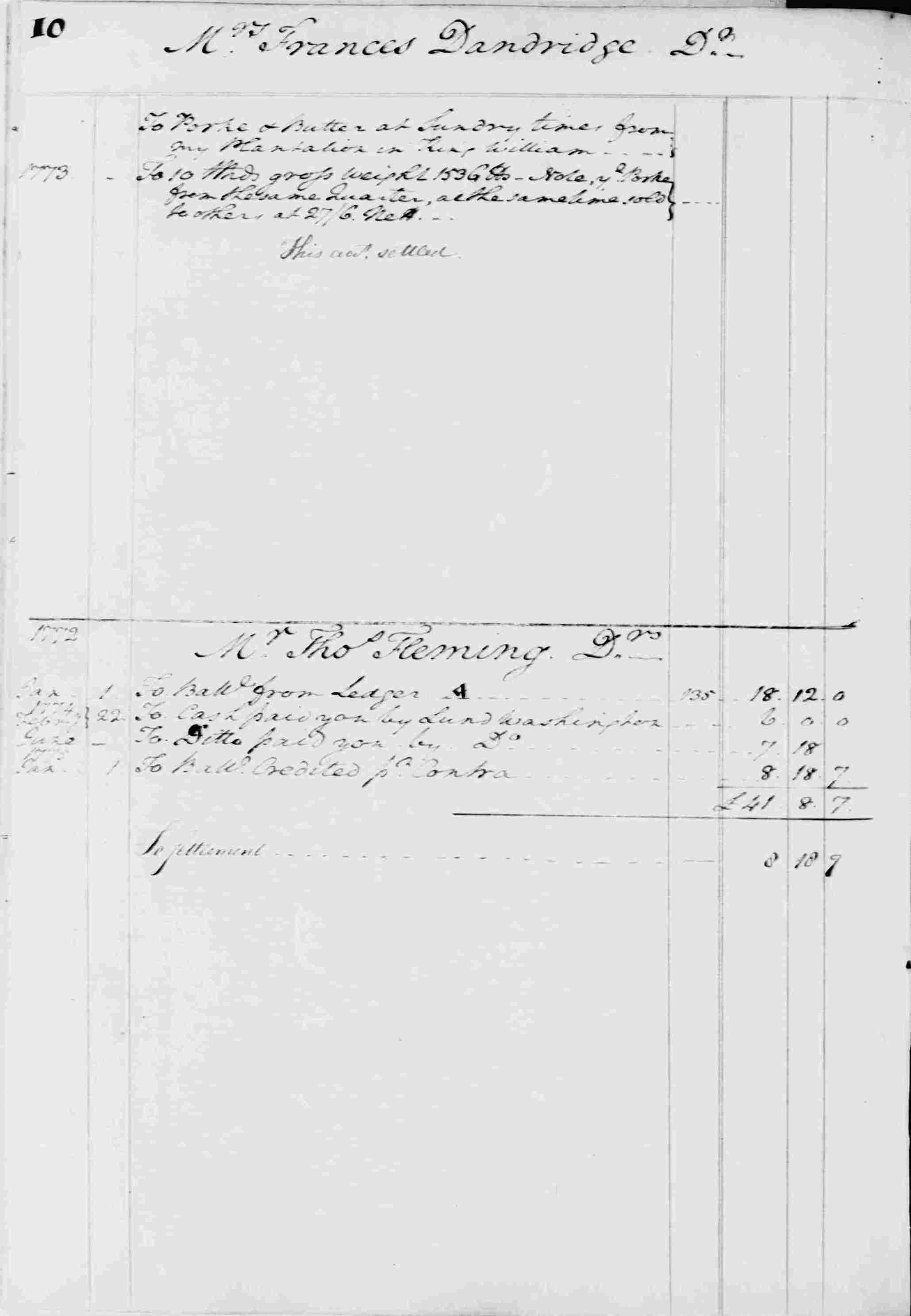 Ledger B, folio 10, left side