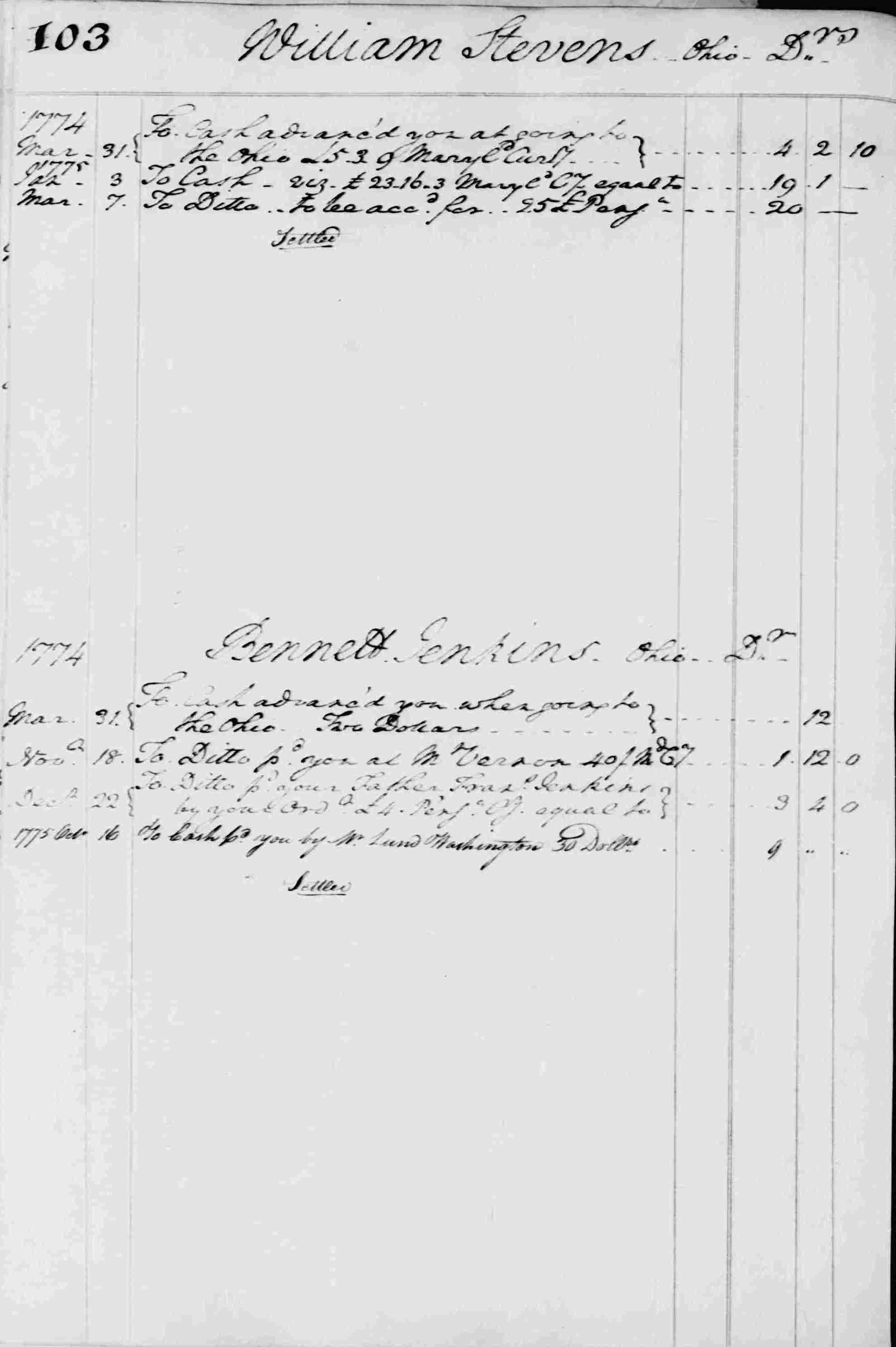 Ledger B, folio 103, left side