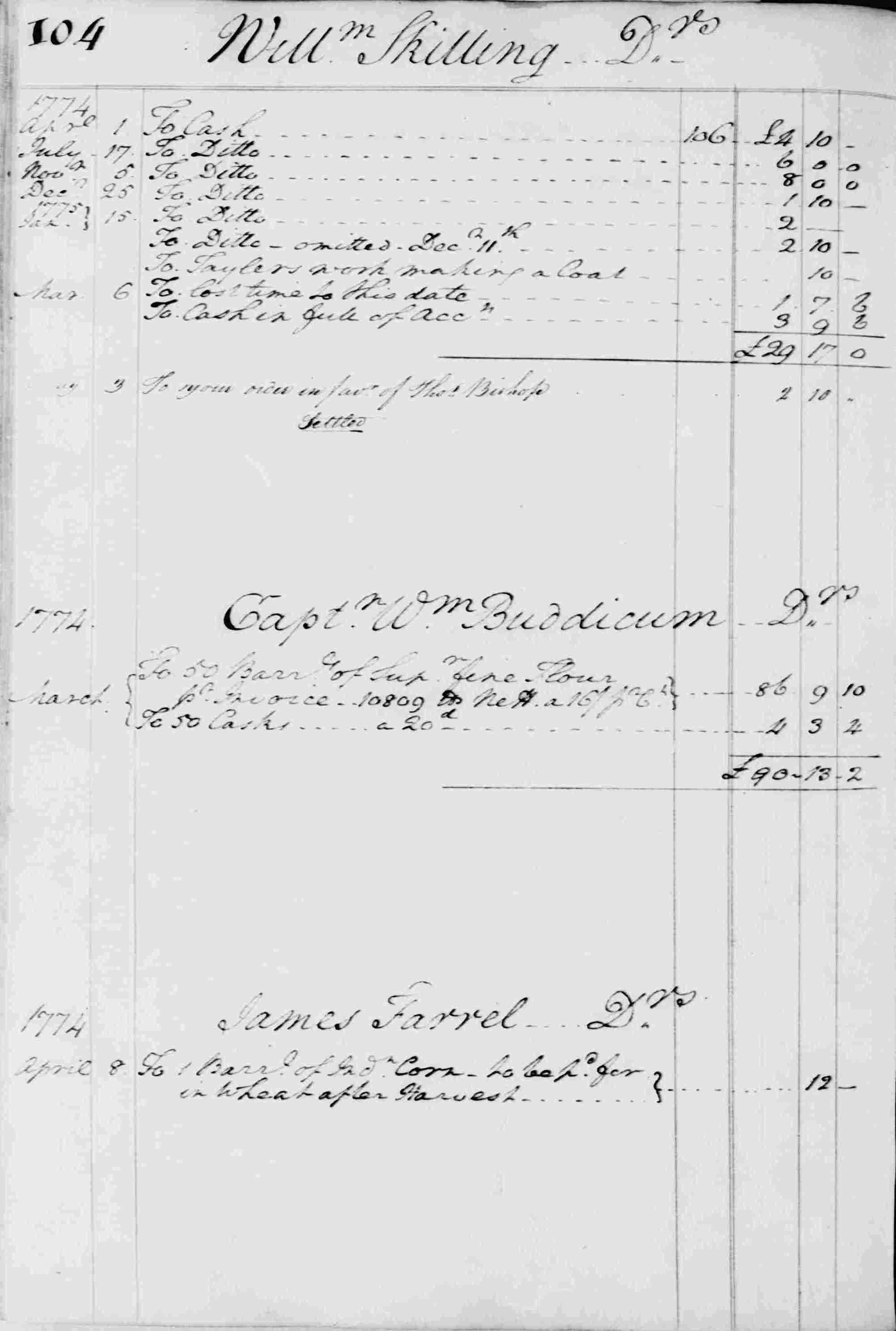 Ledger B, folio 104, left side