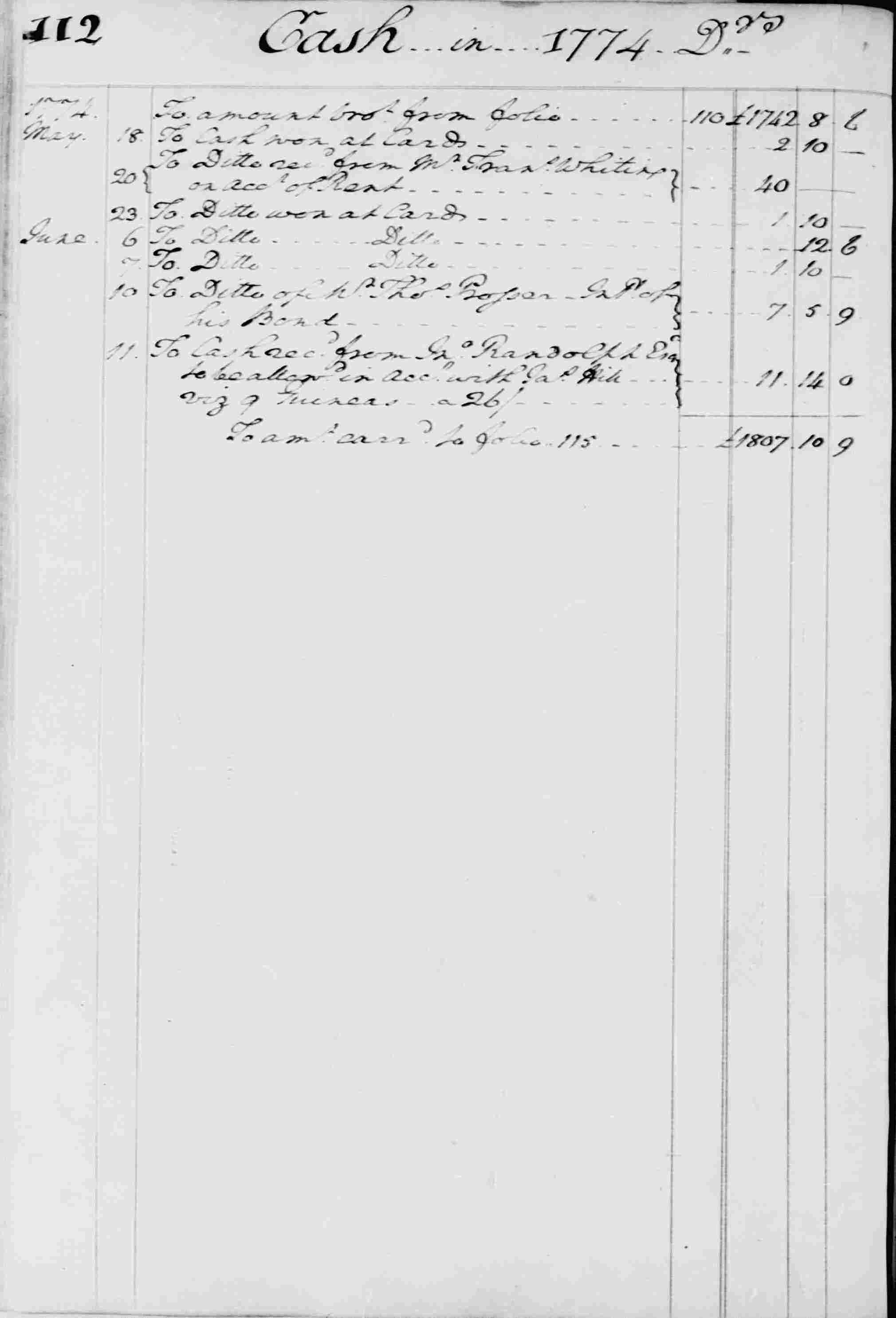 Ledger B, folio 112, left side