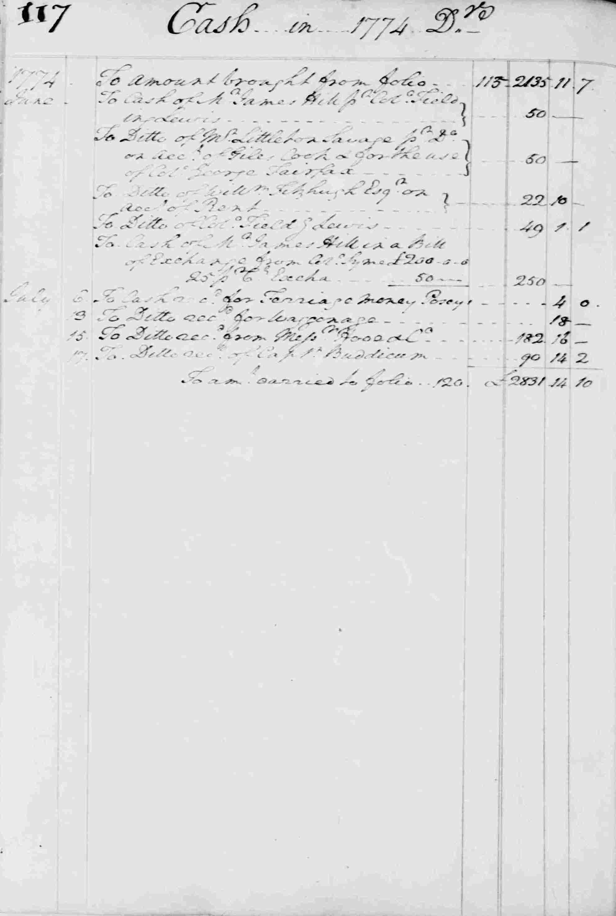 Ledger B, folio 117, left side