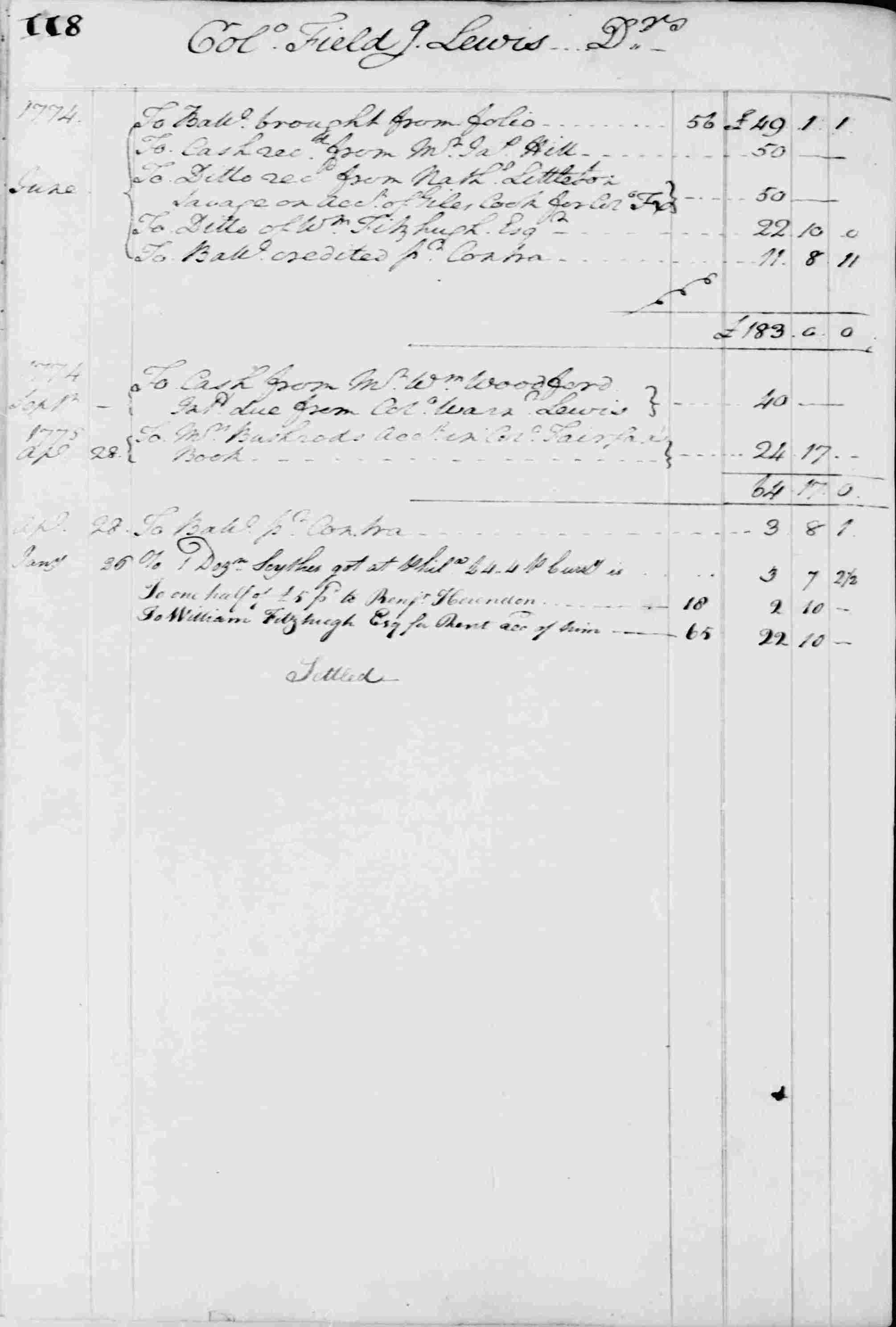 Ledger B, folio 118, left side