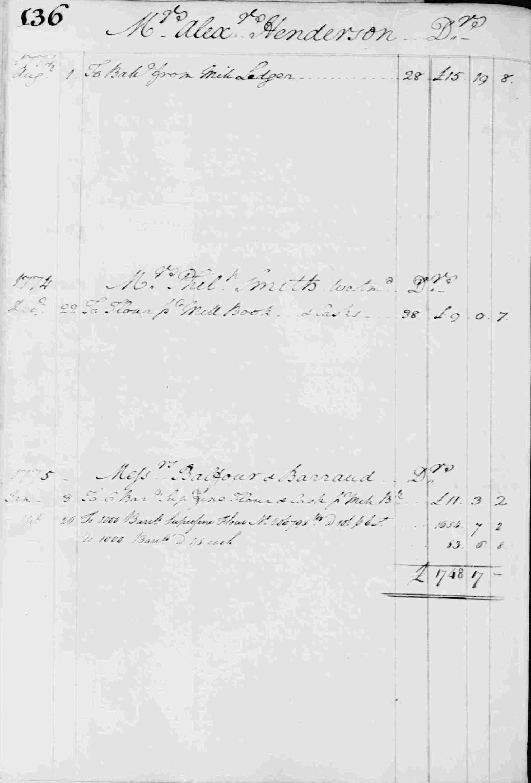 Ledger B, folio 136, left side