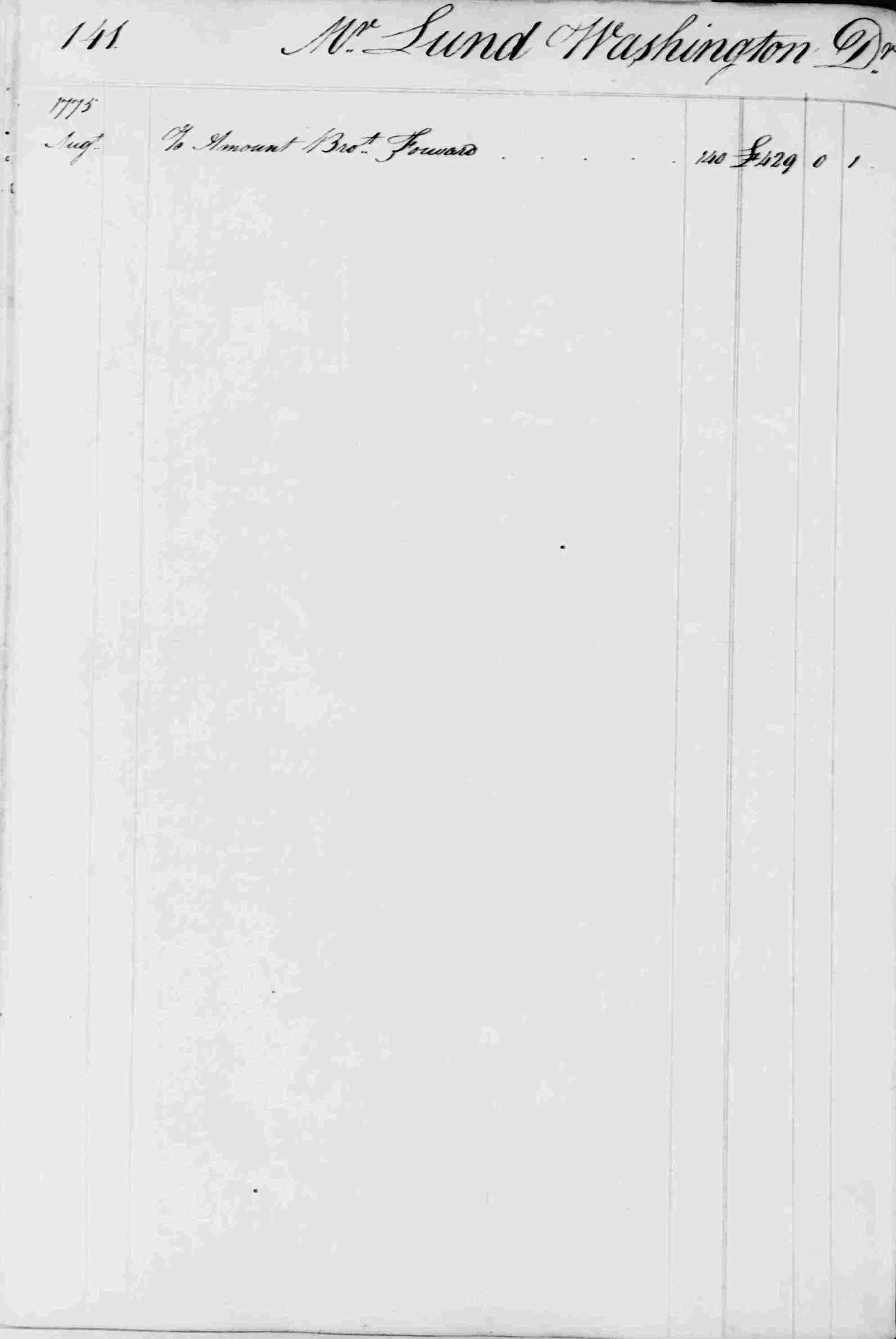 Ledger B, folio 141, left side