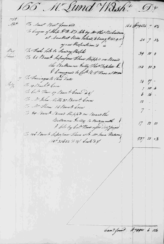 Ledger B, folio 166, left side