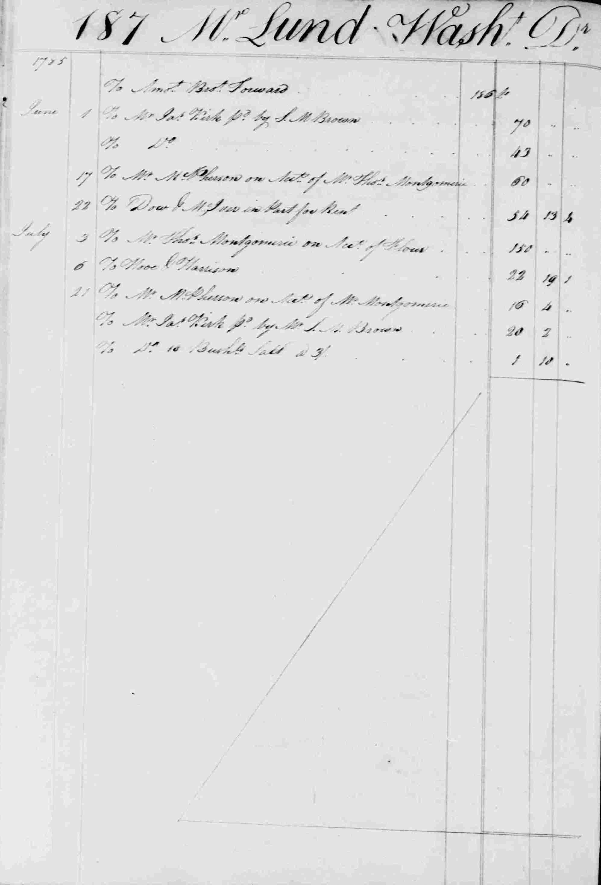 Ledger B, folio 187, left side