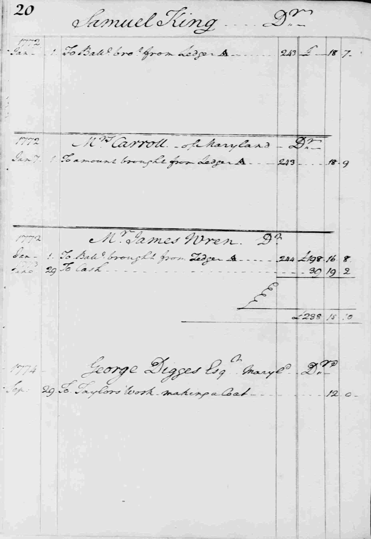 Ledger B, folio 20, left side