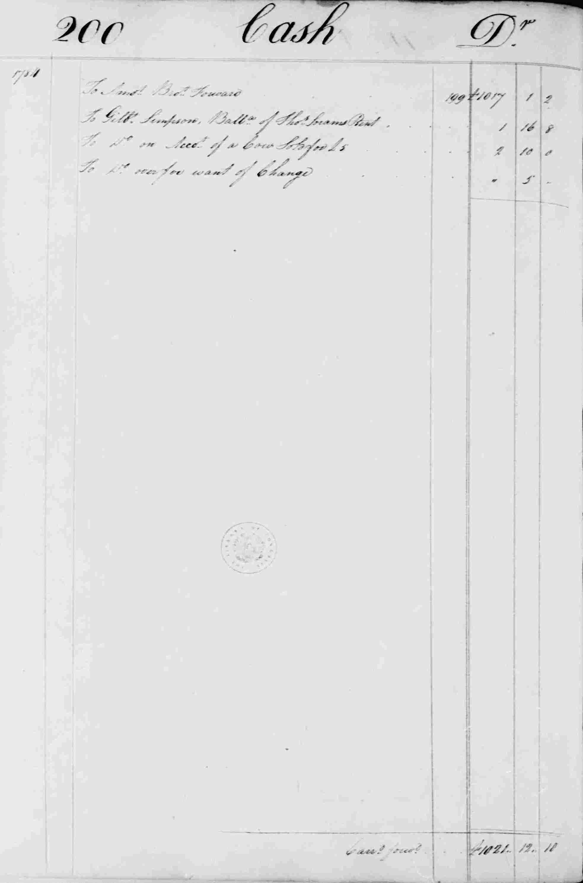 Ledger B, folio 200, left side