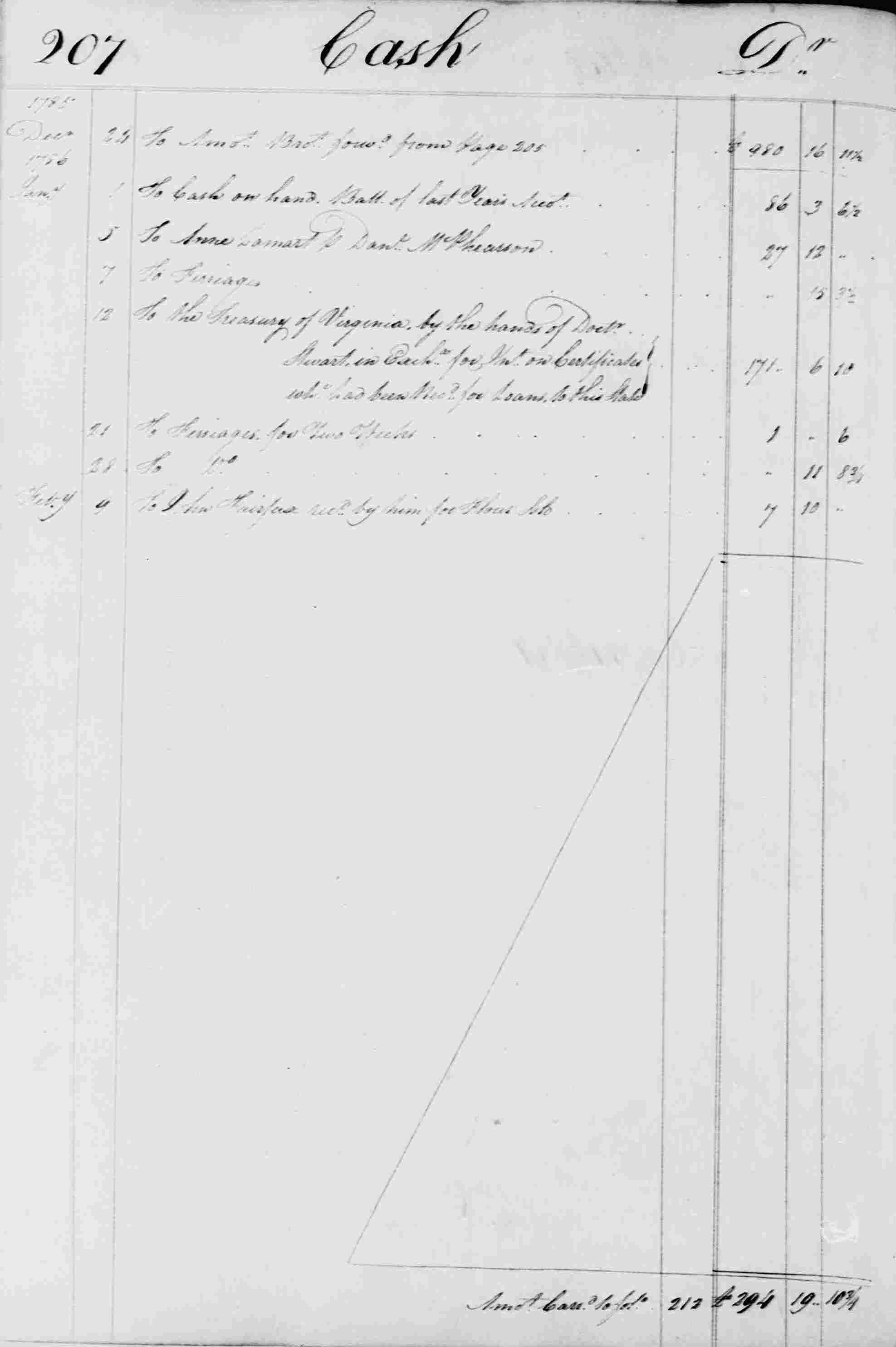 Ledger B, folio 207, left side
