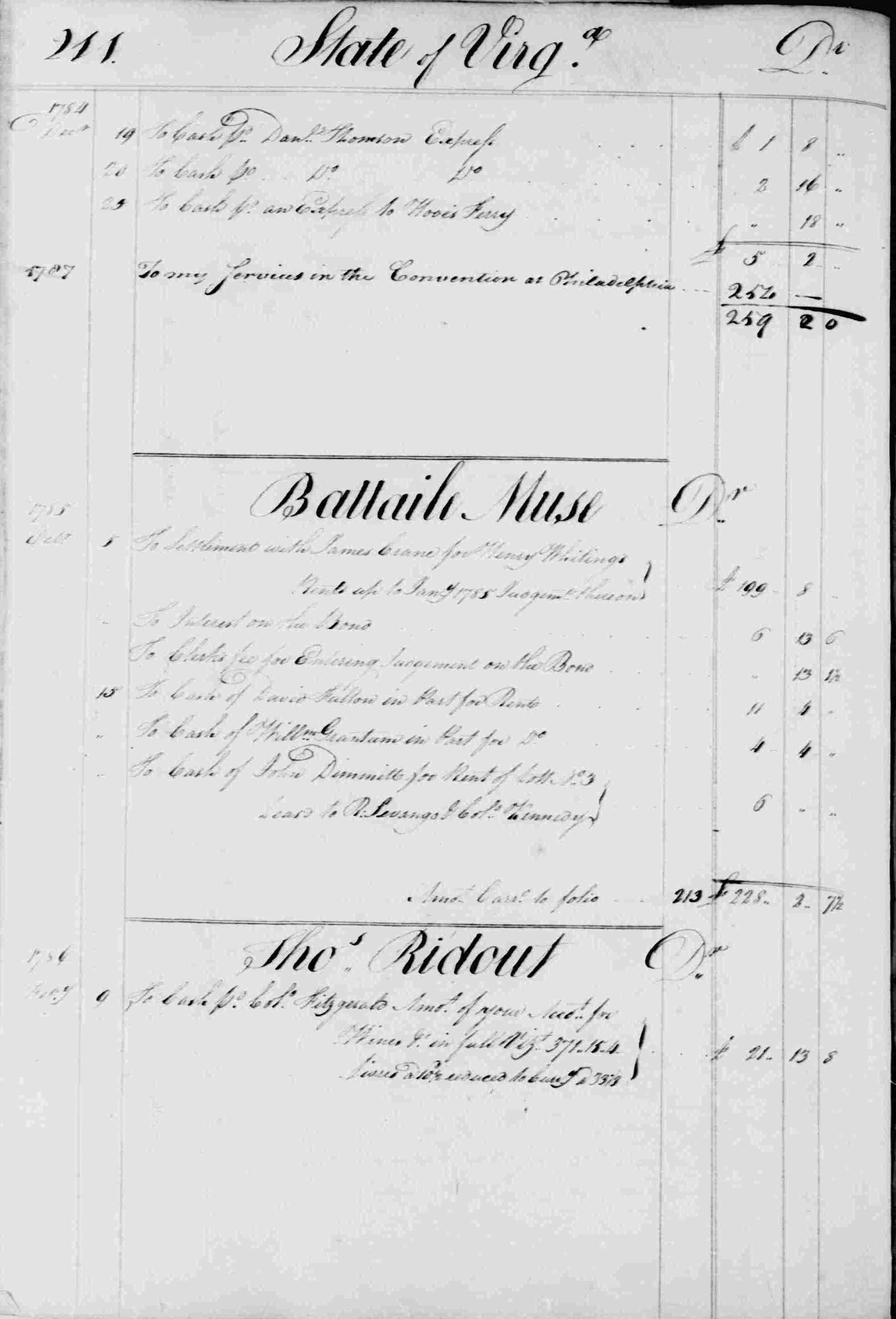 Ledger B, folio 211, left side